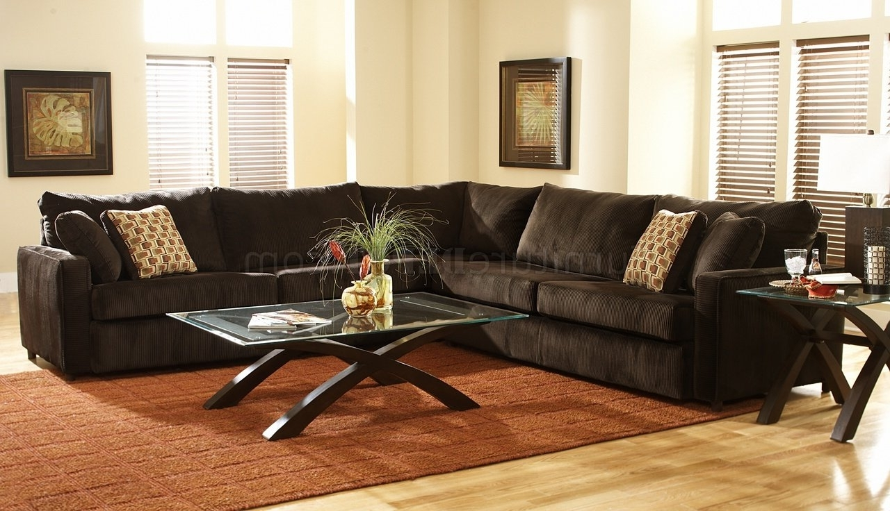 Latest Chocolate Brown Sectional Sofas With Regard To Viva Chocolate Fabric Modern Sectional Sofa W/large Back Pillows (View 15 of 15)