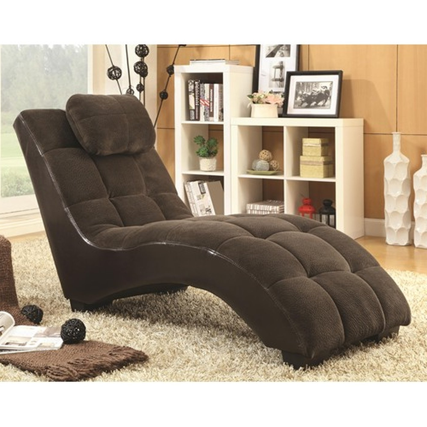 Latest Coaster Chaise Lounges Intended For Brown Fabric Chaise Lounge – Steal A Sofa Furniture Outlet Los (View 7 of 15)