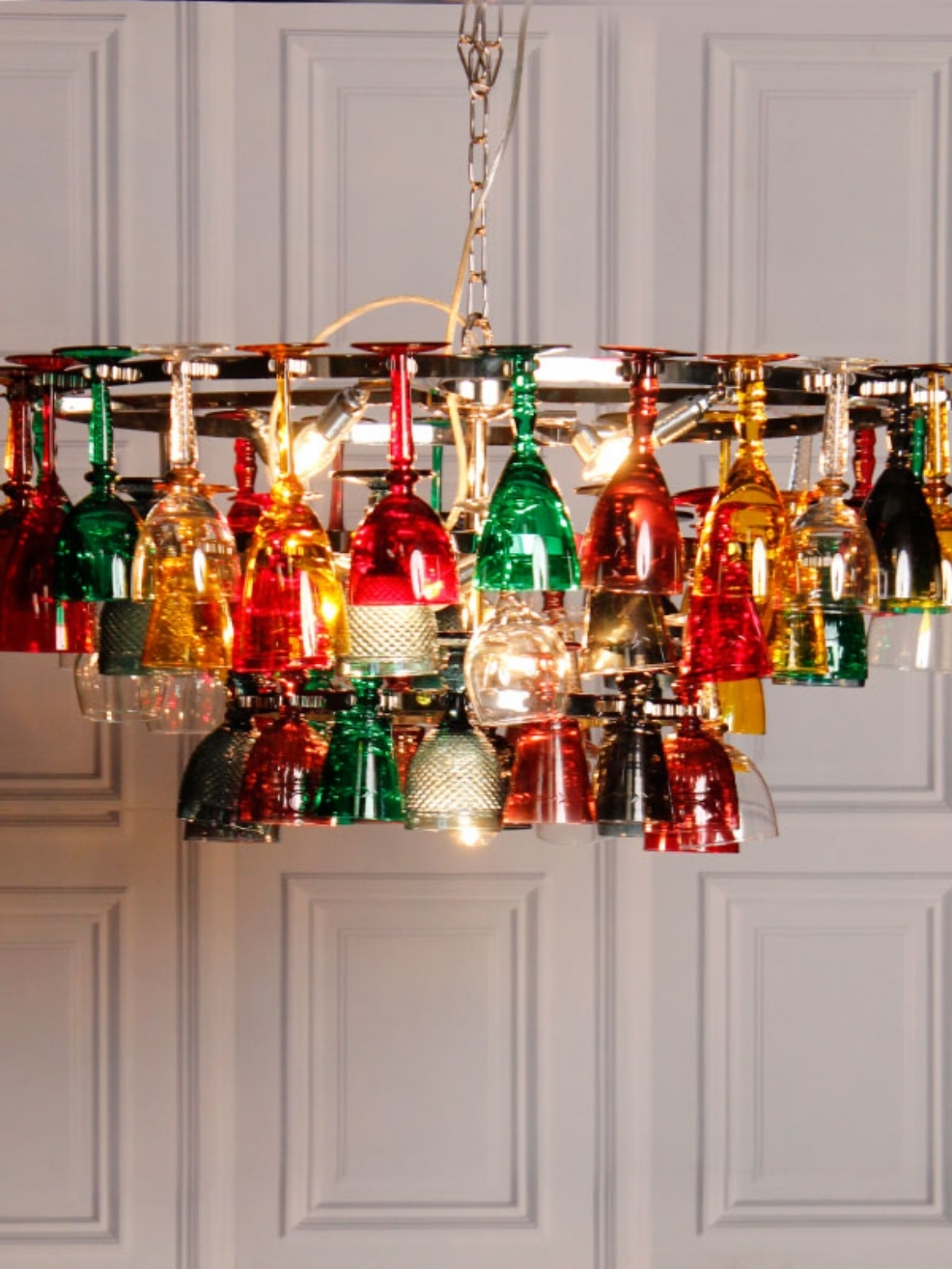 Latest Coloured Glass Chandelier Intended For Coloured Wine Glass Chandelier (View 1 of 15)