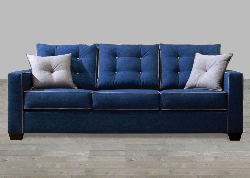 Latest Contemporary Fabric Sofas Regarding Contemporary Blue Fabric Sofa (View 1 of 15)