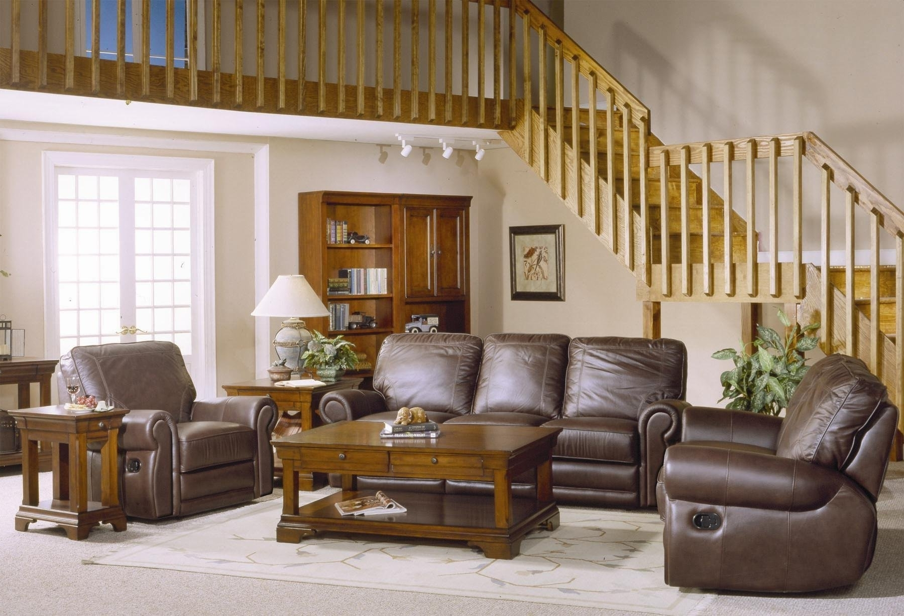 Latest Country Style Brown Leather Sofa Set With Sofa Loveseat And Chair Within Country Style Sofas (View 5 of 15)