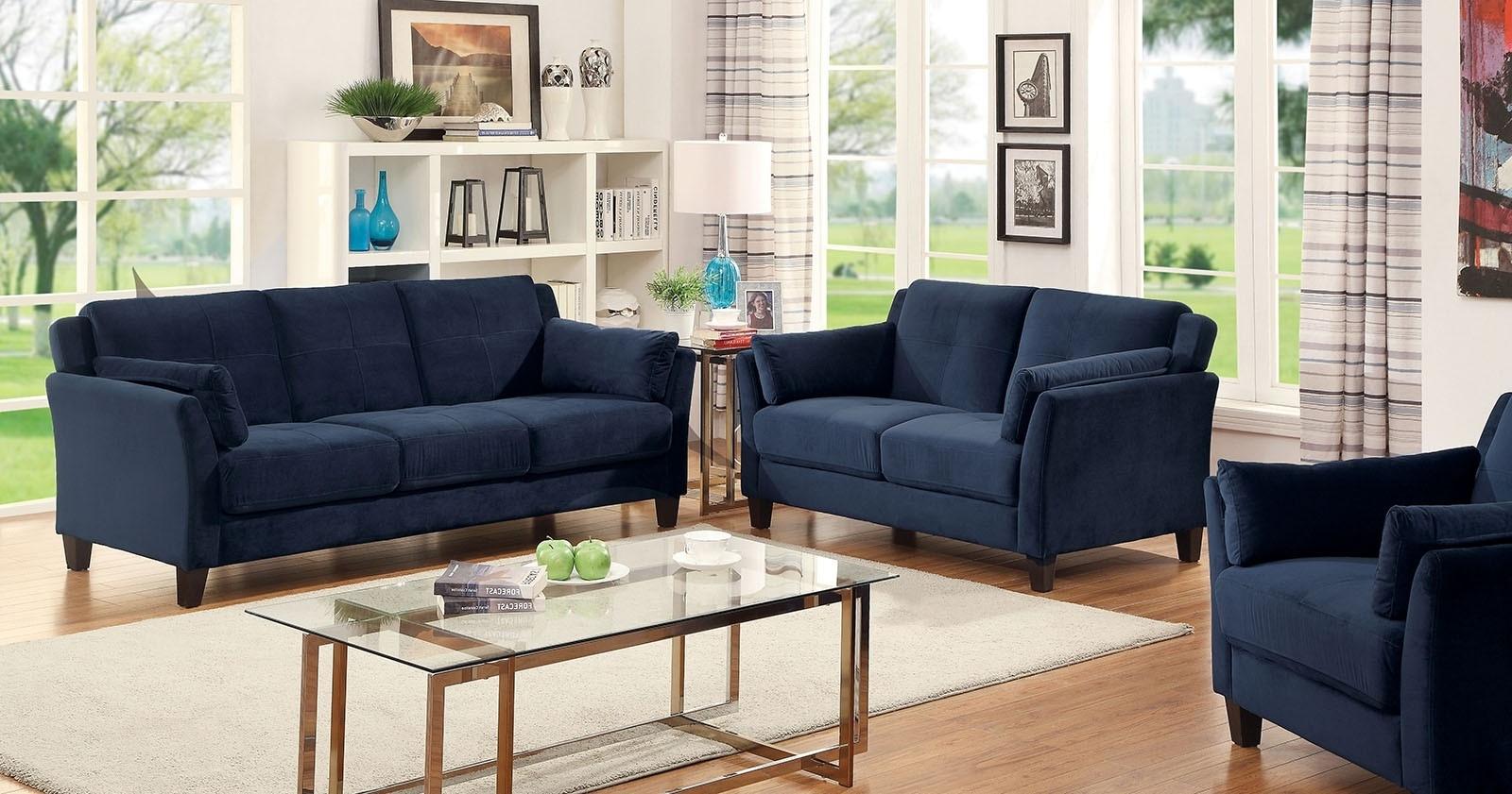Latest Dark Blue Sofas With Regard To Sale 249494 Royal Home Sofa Set Riva Dark Blue 3Pc Sofa Awesome (View 8 of 15)