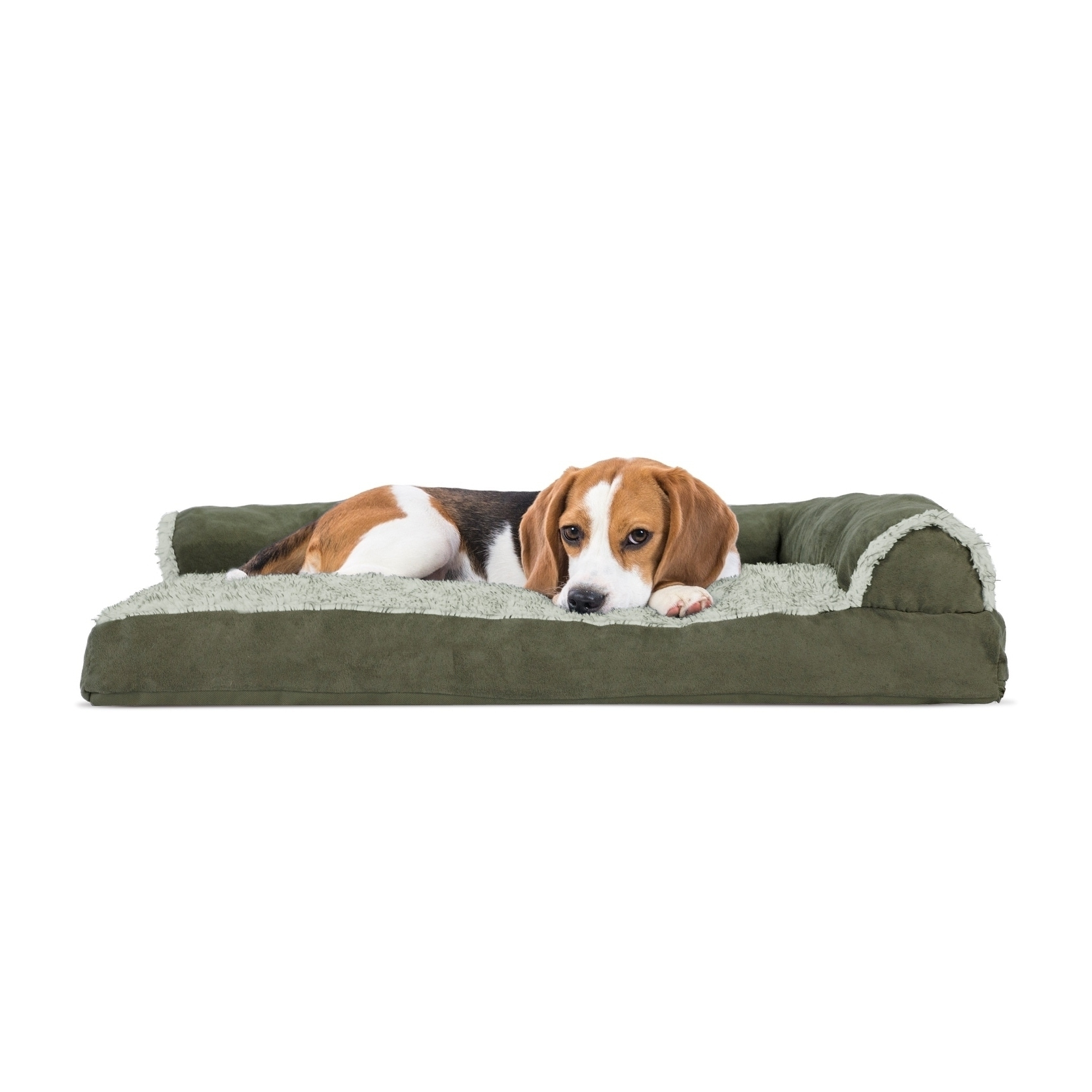 Latest Dog Chaise Lounges Pertaining To Furhaven Two Tone Faux Fur & Suede Deluxe Chaise Lounge Pillow (View 11 of 15)