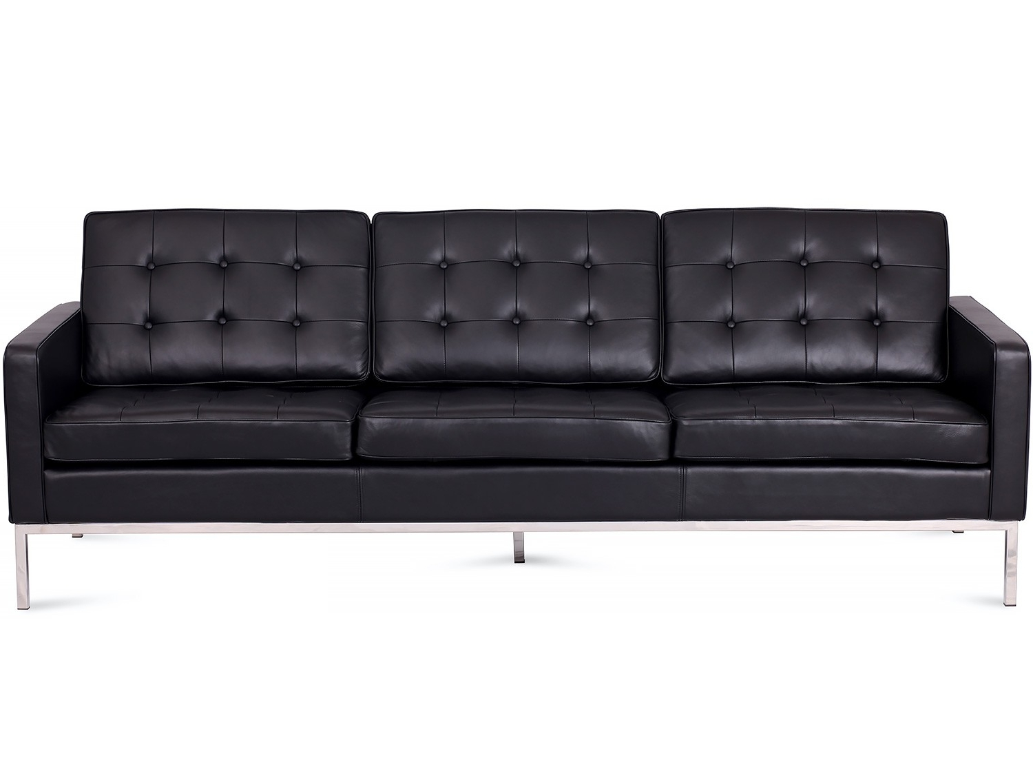 Latest Florence Knoll Leather Sofas intended for Florence Knoll Sofa 3 Seater Leather (Platinum Replica)
