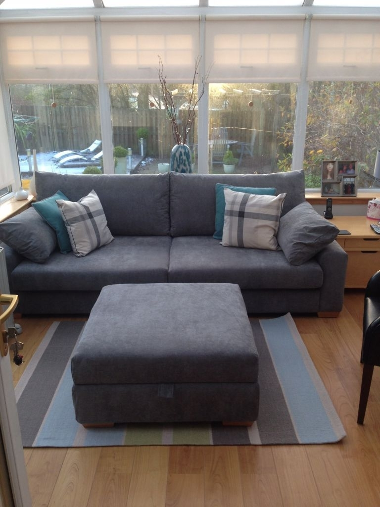 Latest Grey – Large 4 Seater Sofa & Footstool (View 5 of 15)
