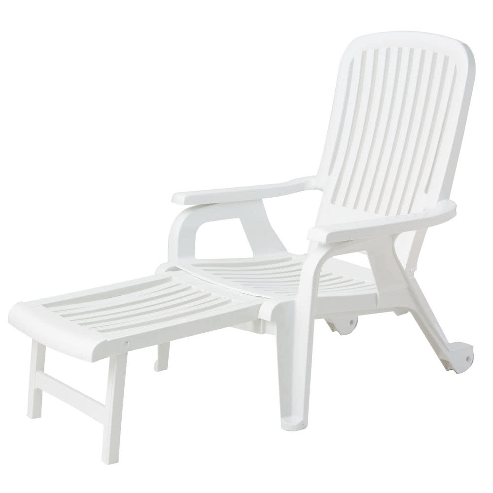 Latest Grosfillex Us658004 White Bahia Stacking Resin Chair With Pull Out Regarding Grosfillex Chaise Lounge Chairs (View 7 of 15)