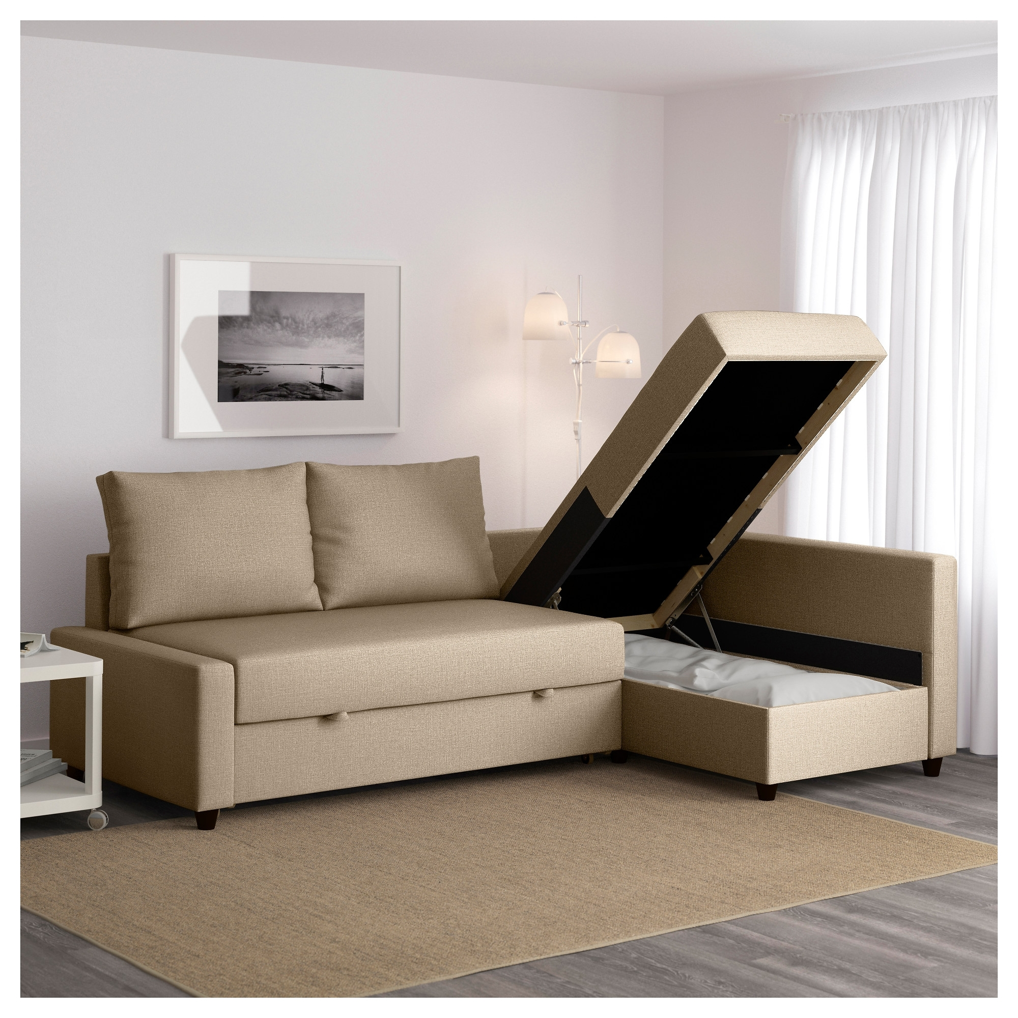 Latest Ikea Sofa Beds With Chaise Pertaining To Friheten Corner Sofa Bed With Storage Skiftebo Beige – Ikea (View 5 of 15)