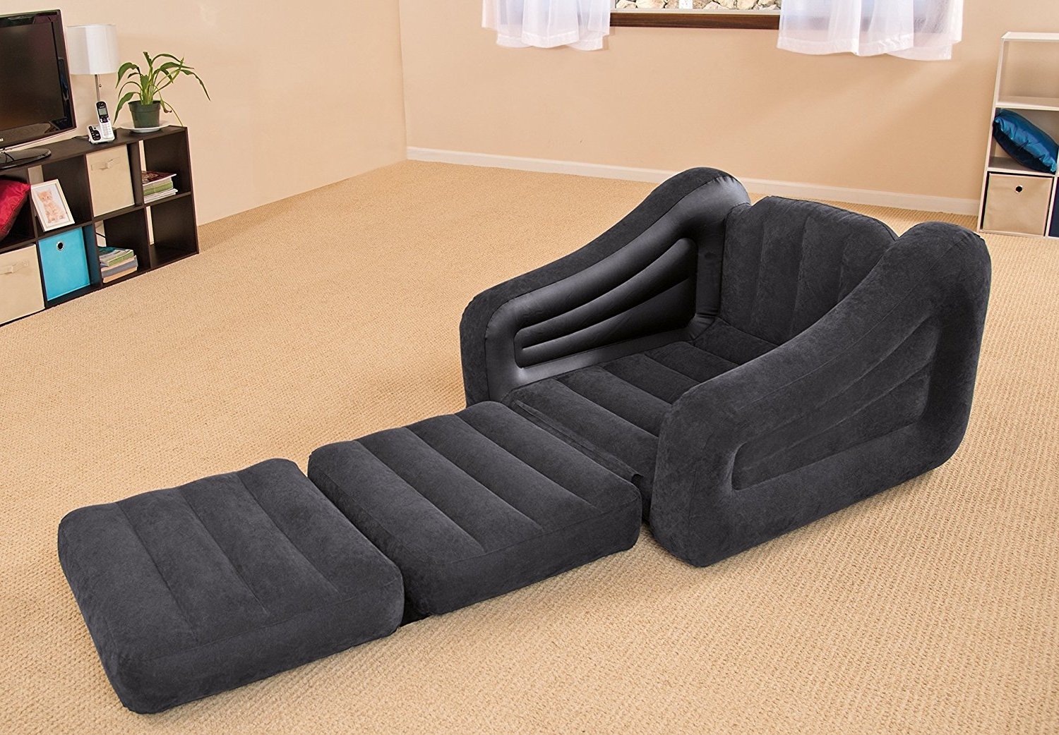 "Latest Inflatable Sofas And Chairs Regarding Amazon: Intex Pull Out Chair Inflatable Bed, 42"" X 87"" X (View 13 of 15)"