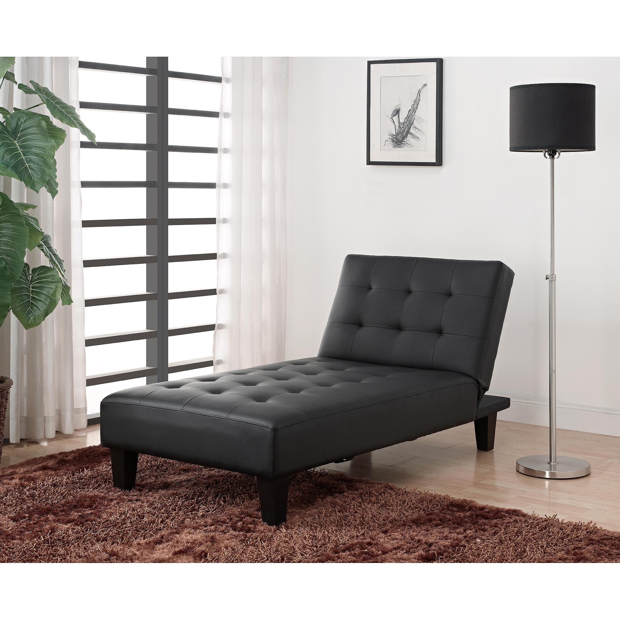 Latest Julia Futon Chaise Lounger, Black – Walmart Throughout Leather Chaise Lounge Sofa Beds (View 12 of 15)
