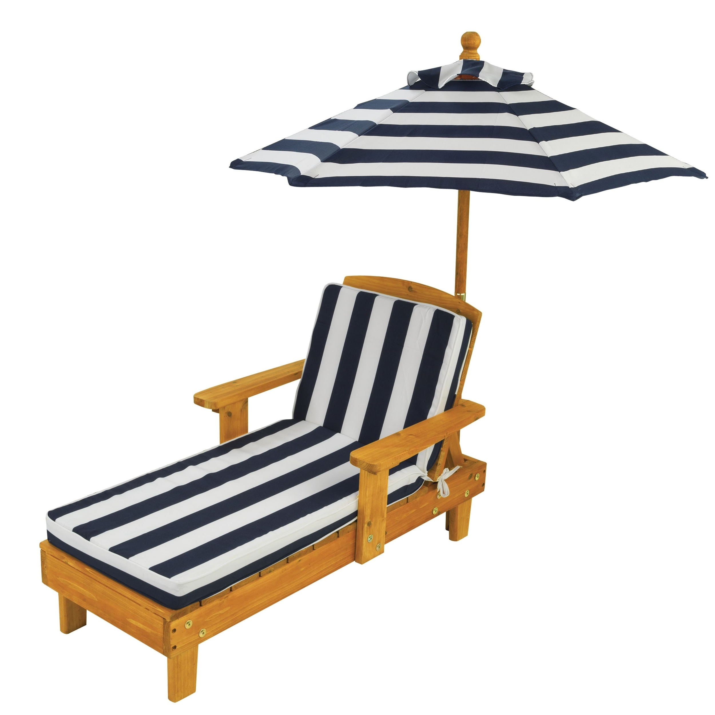Latest Kid's Blue/ White Striped Outdoor Chaise With Umbrella – Free Within Children's Outdoor Chaise Lounge Chairs (View 12 of 15)