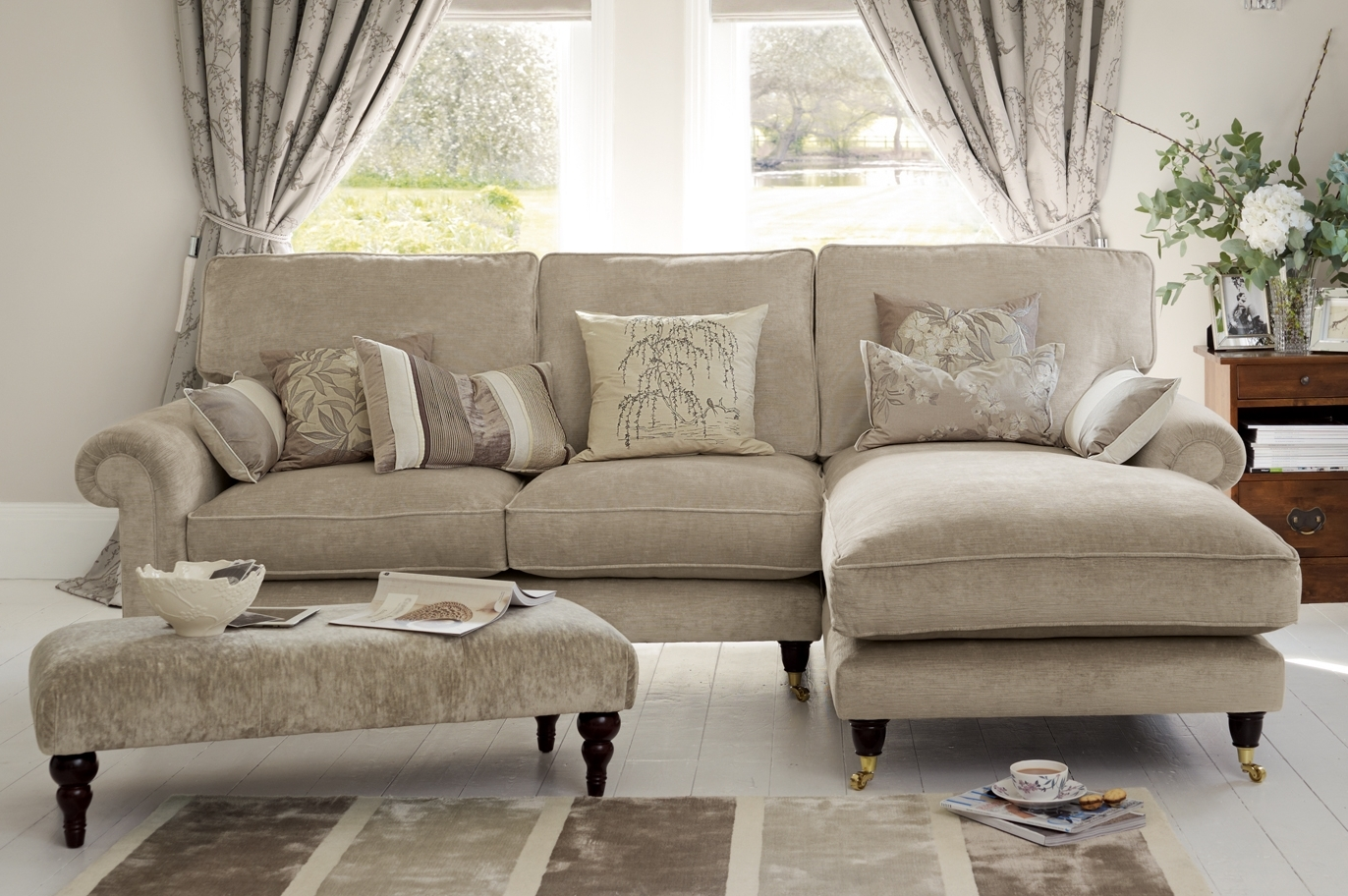 "Latest Kingston"" Sectional Sofa With Chaise In Sable Beige From Laura Within Ashley Chaise Lounges (View 8 of 15)"