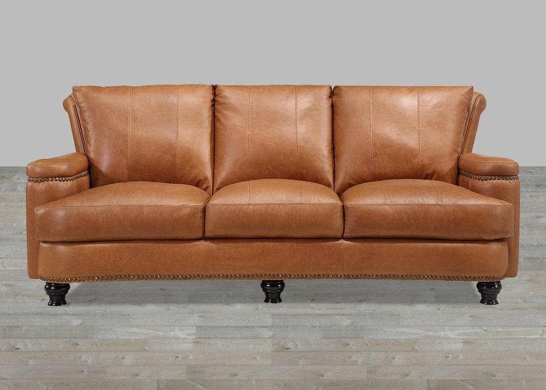 Latest Leather Sofa Caramel Finish With Nailhead Trim For Aniline Leather Sofas (View 11 of 15)