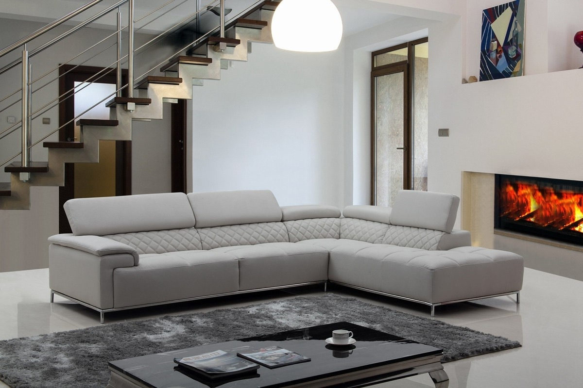 Latest Light Grey Sectional Sofas In Stylish Light Grey Leather Sectional Couch With Ergonomic Back And (View 13 of 15)