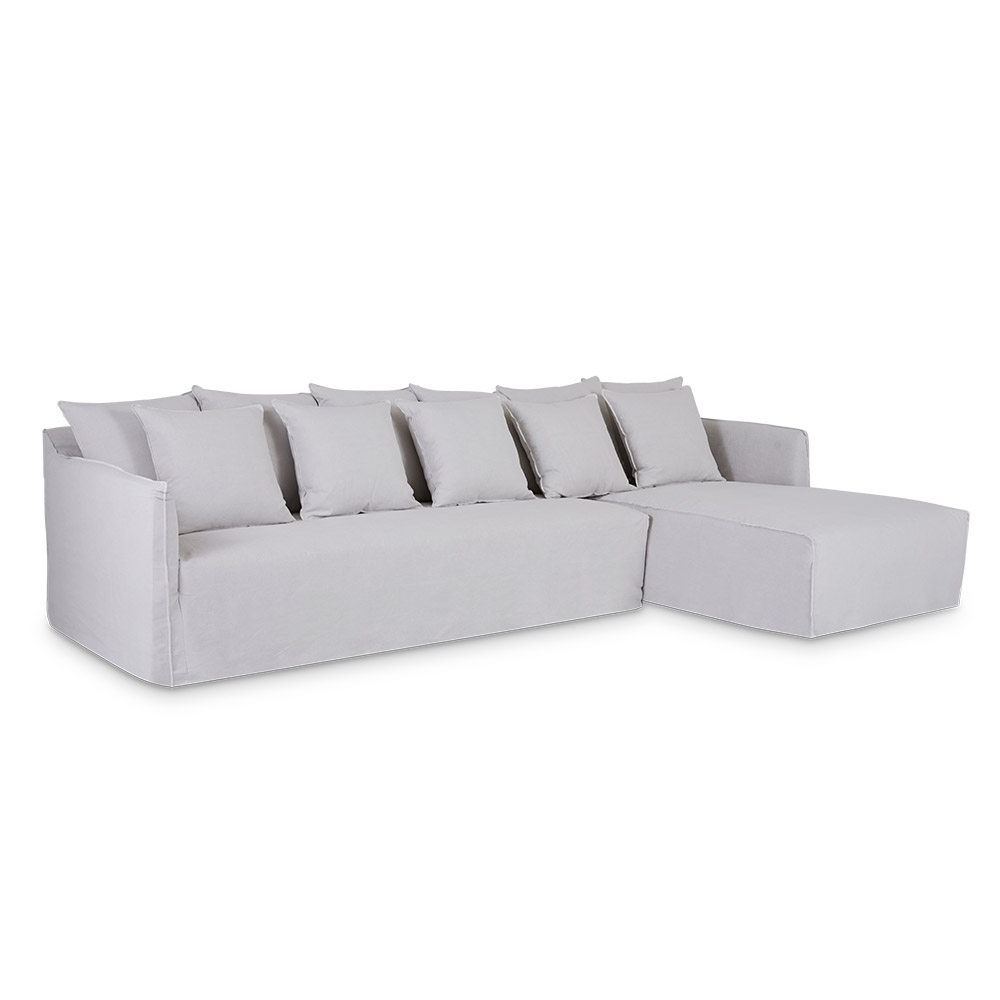 Latest Linen Chaise Lounges Within Designer Bronte Linen Chaise Lounge – Winter White Slipcover (View 10 of 15)