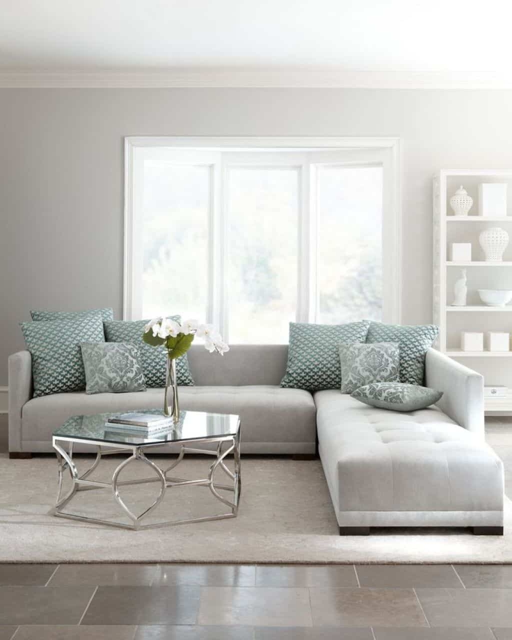 Latest Living Room With Light Grey Sectional Sofa – Ways To Move A Pertaining To Light Grey Sectional Sofas (View 6 of 15)