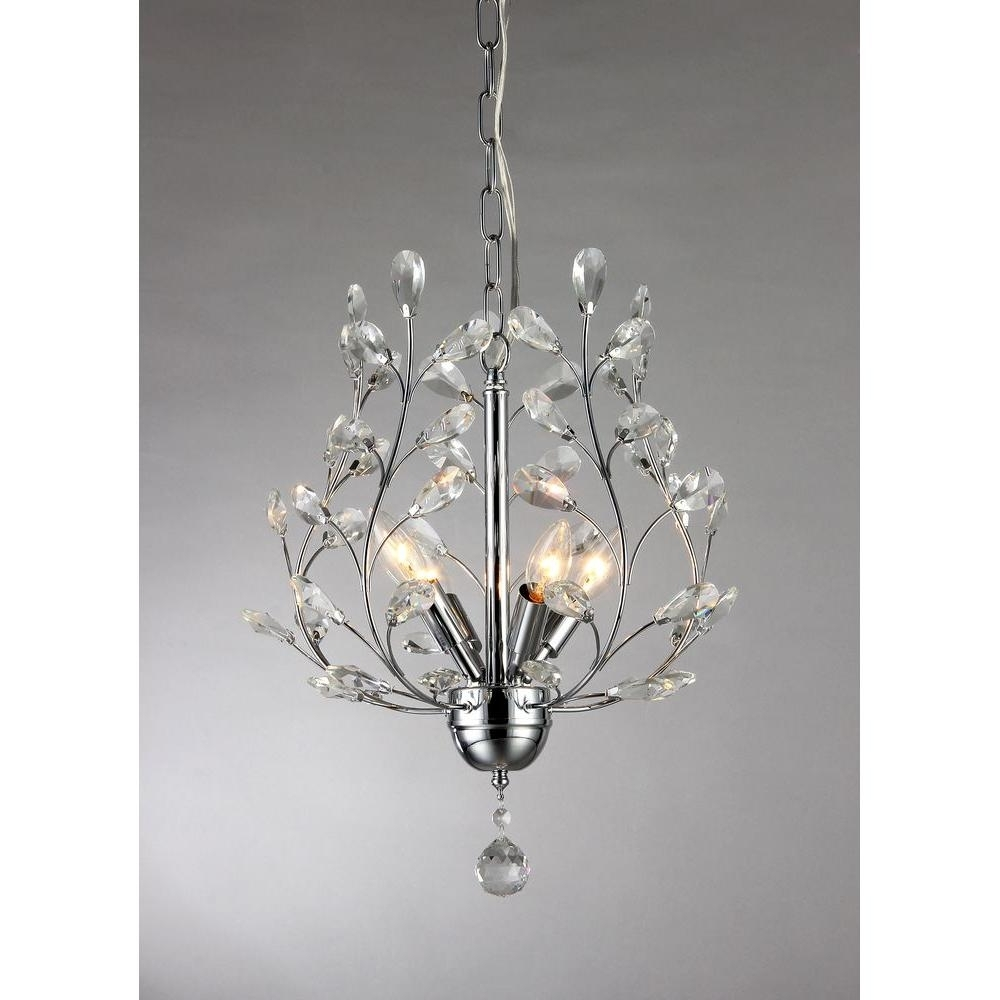 Latest Marie 4 Light Chrome Indoor Crystal Chandelier With Shade Rl8026 Inside 4 Light Chrome Crystal Chandeliers (View 10 of 15)