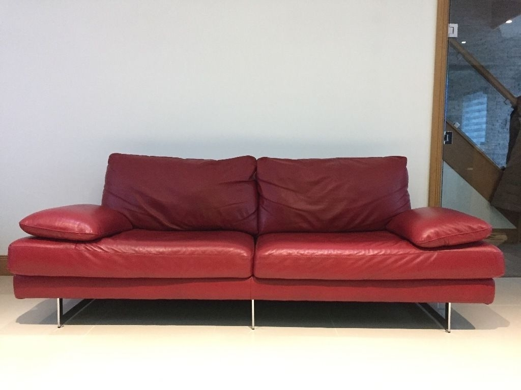 Latest Modern 3 Seater Sofas With Real Leather Red Italian Modern Sofa 3 Seater Plus 2 Seater Like (View 7 of 15)