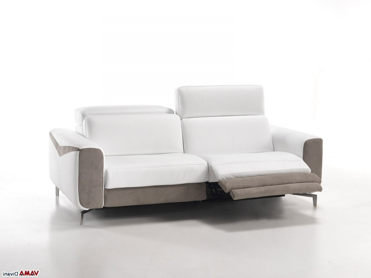 Latest Modern Reclining Leather Sofas With Regard To Sofa: Astonishing White Leather Reclining Sofa White Reclining (View 11 of 15)