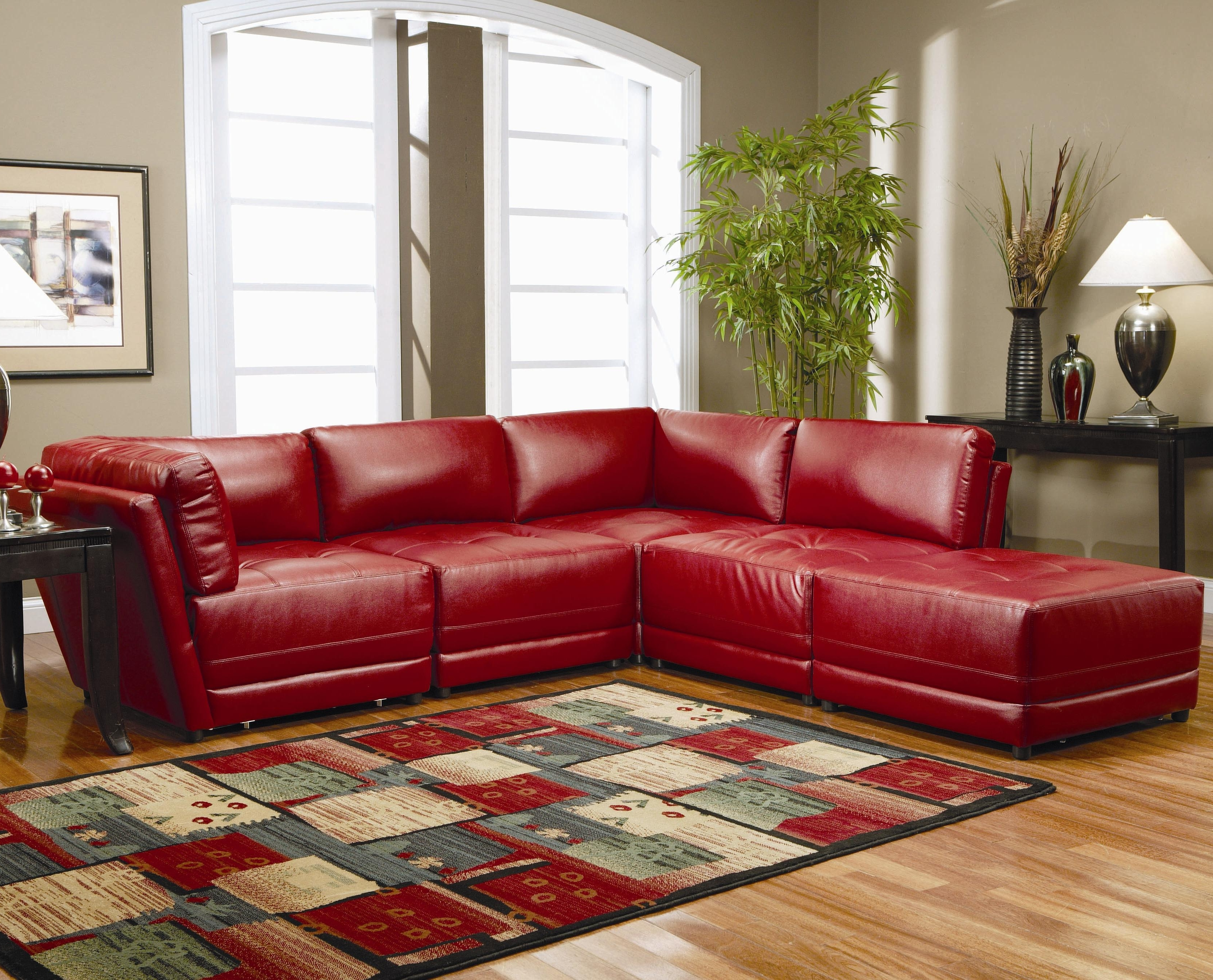 Latest Red Faux Leather Sectionals Intended For Warm Red Leather Sectional L Shaped Sofa Design Ideas For Living (View 3 of 15)
