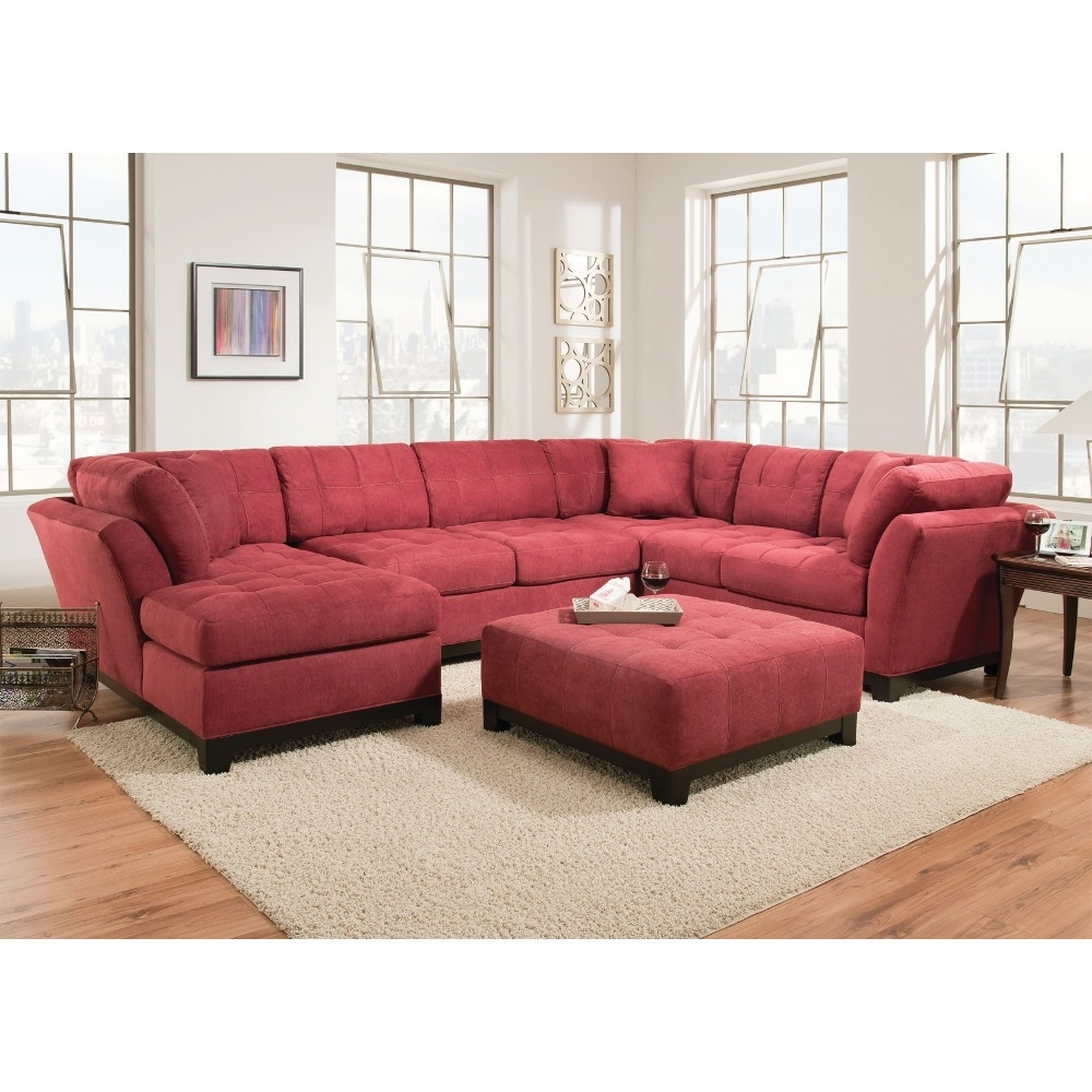 Latest Red Sectional Sofas With Chaise Intended For Manhattan Sectional – Sofa, Loveseat & Rsf Chaise – Red (52A5R (View 6 of 15)