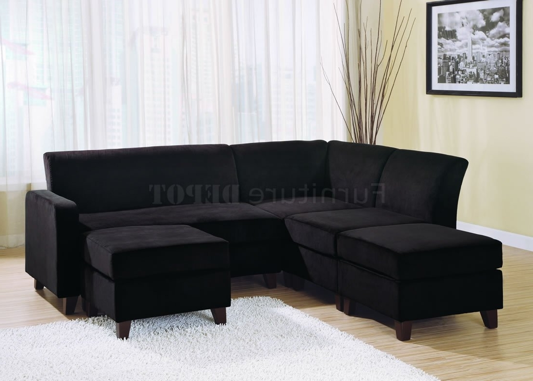 Latest Sectional Sofa Design: Wonderful Black Microfiber Sectional Sofa With Regard To Mini Sectional Sofas (View 3 of 15)