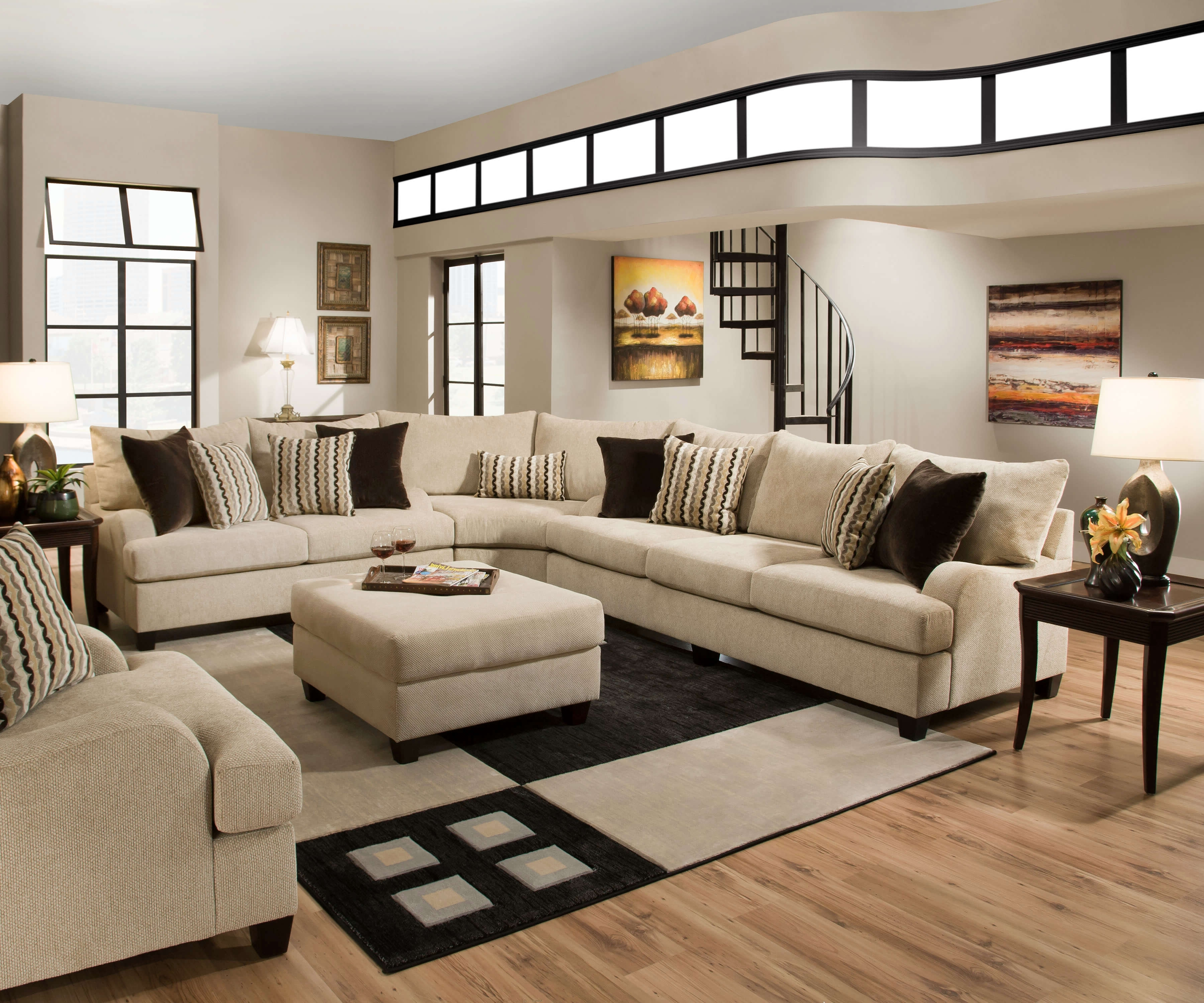 Latest Simmons Sectional Sofas Throughout Simmons Trinidad Taupe Sectional Set (View 2 of 15)