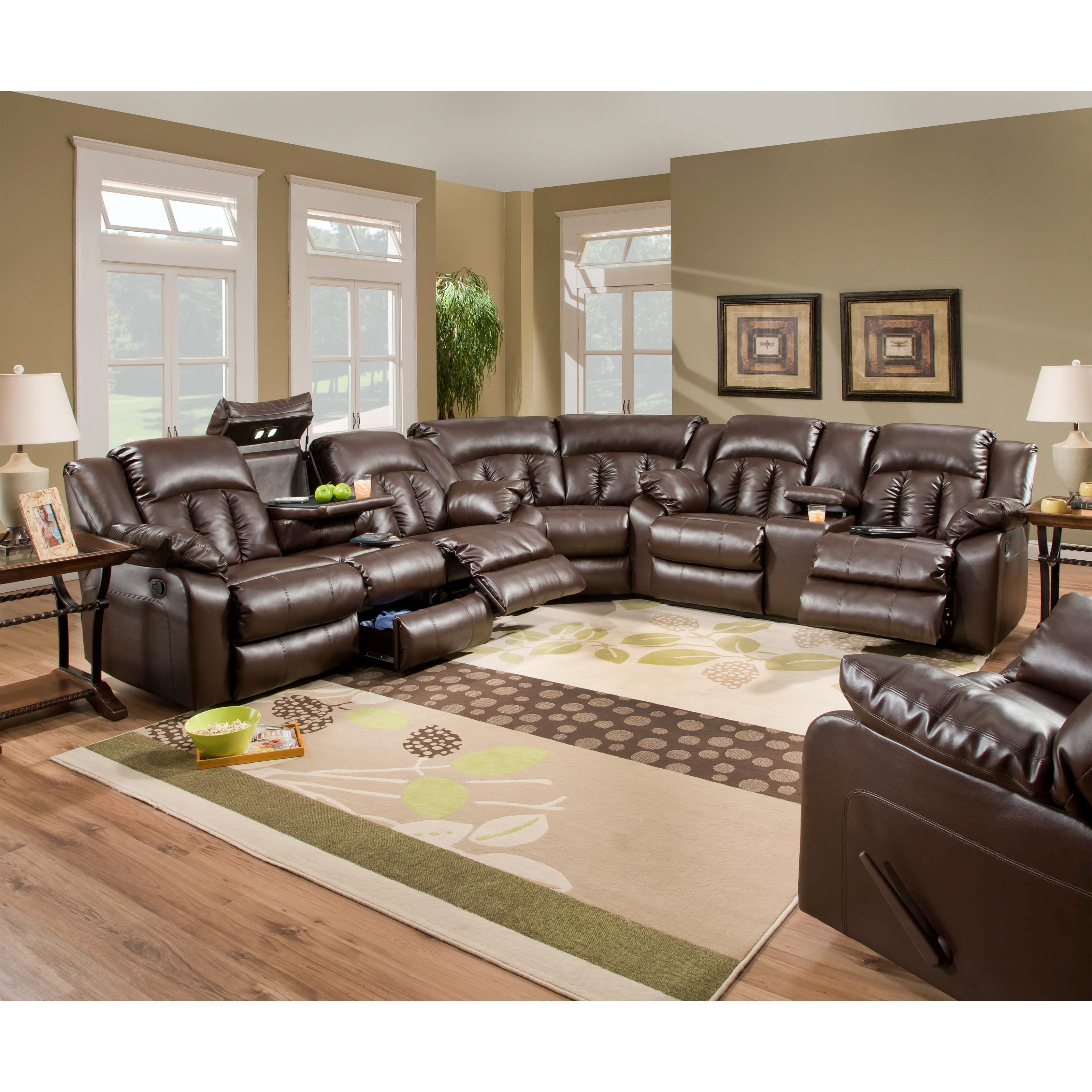 Latest Simmons Upholstery Sebring Bonded Leather Sectional (View 3 of 15)