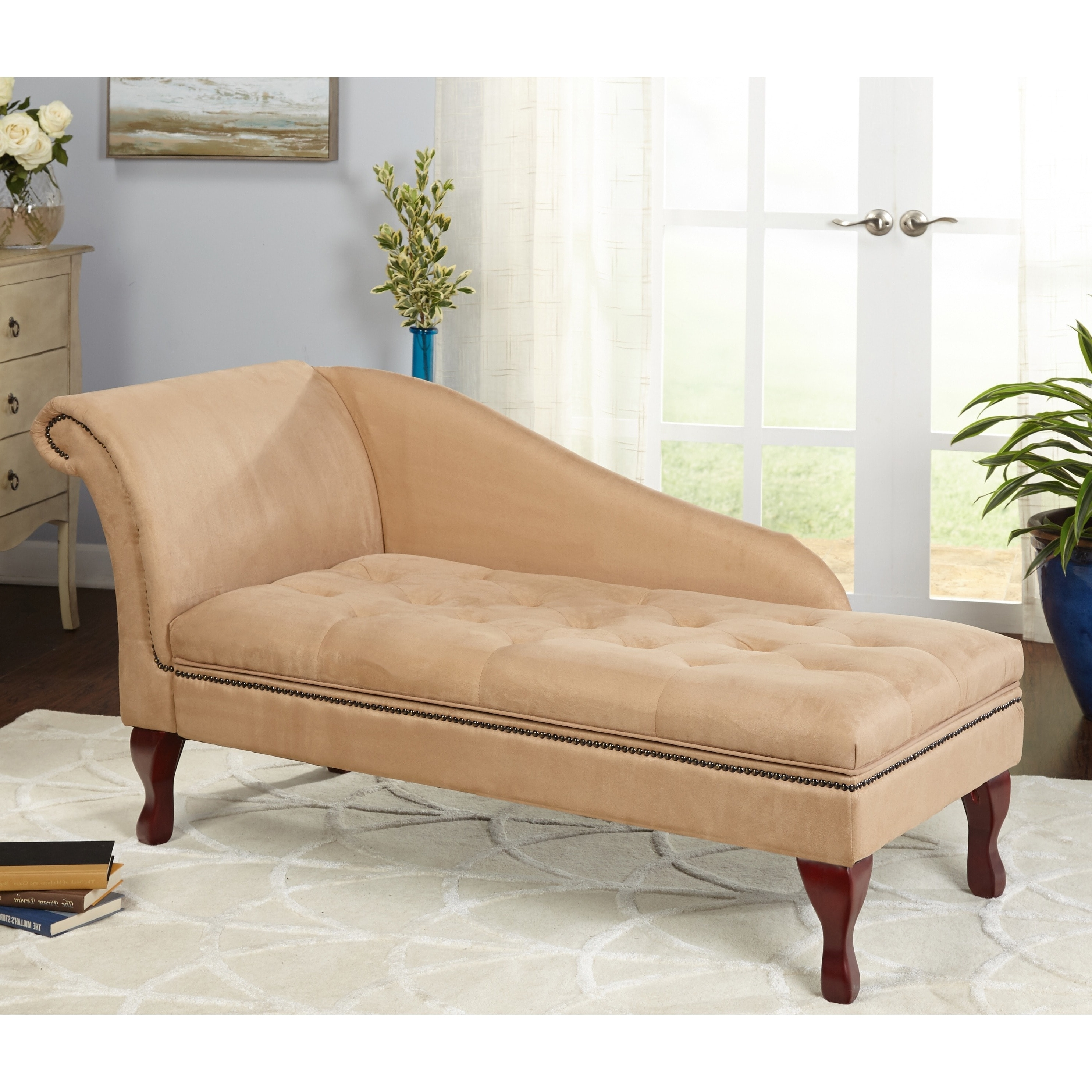 Latest Simple Living Tan Chaise Lounge With Storage – N/a – Free Shipping Within Overstock Chaises (View 10 of 15)