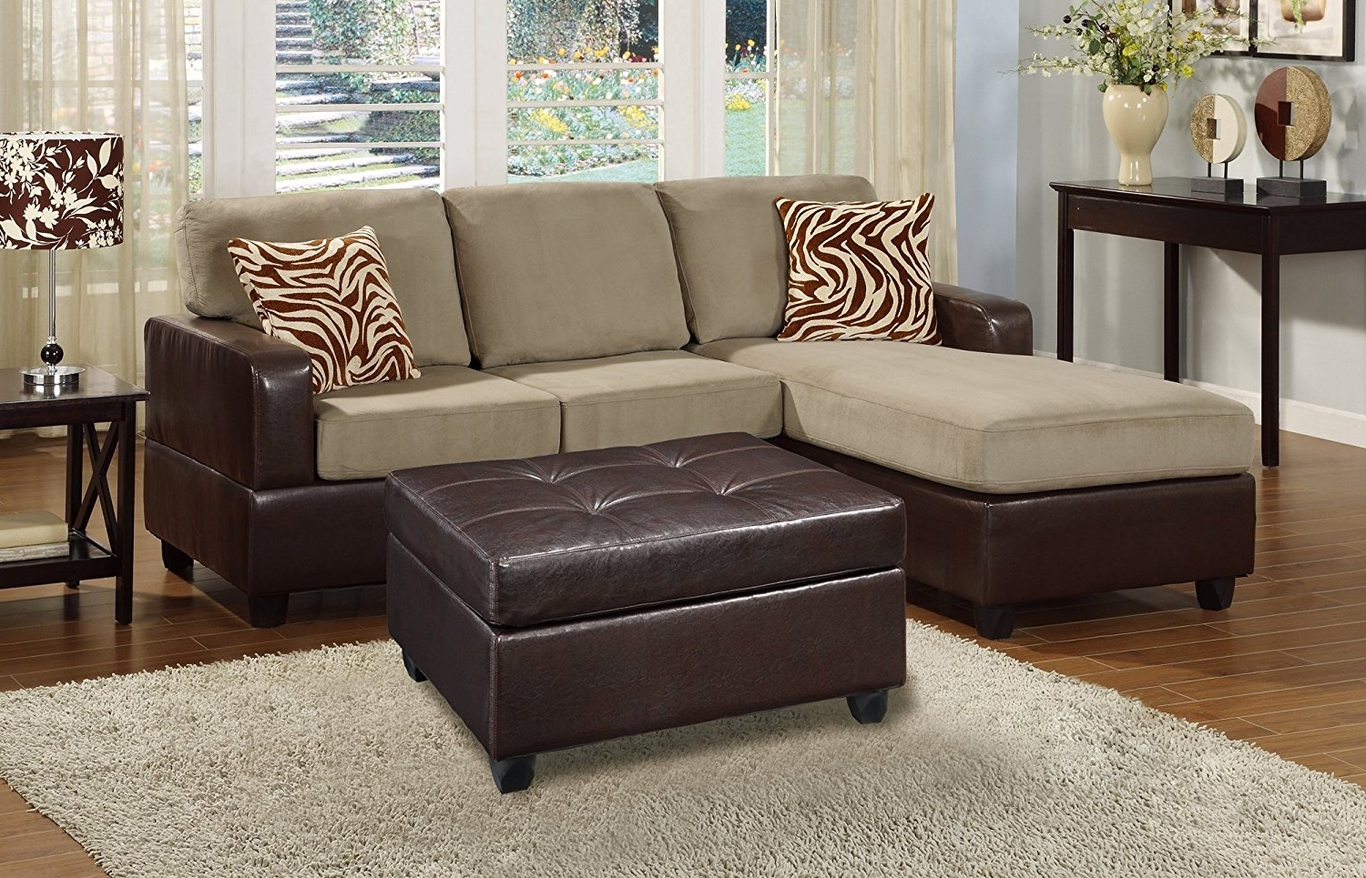 Latest Small Sectional Sofas With Chaise And Ottoman Regarding Amazon: Bobkona Manhanttan Reversible Microfiber 3 Piece (View 2 of 15)