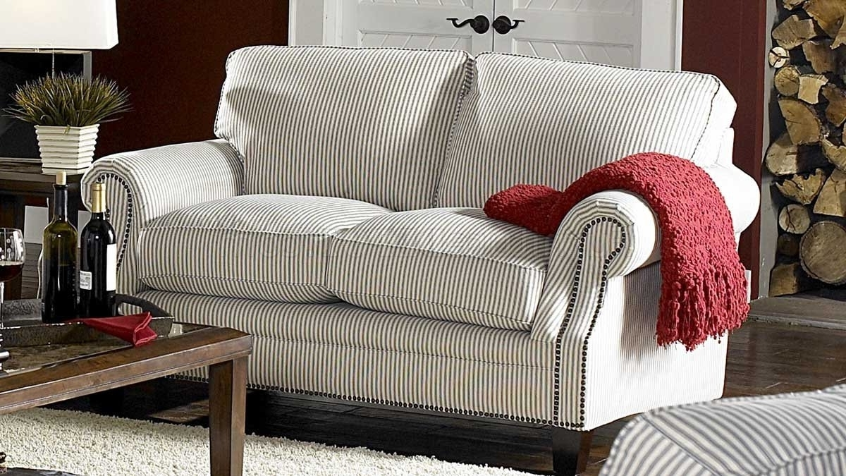 Latest Striped Sofas And Chairs Throughout & Blue Striped Fabric Cottage Style Sofa & Loveseat Set (View 4 of 15)