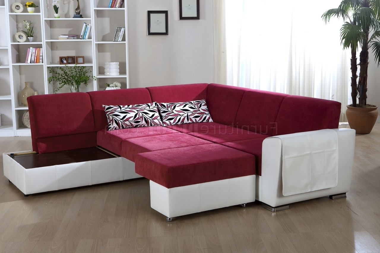 Latest Tone Pink & White Convertible Sectional Sofa W/storage With Convertible Sectional Sofas (View 9 of 15)