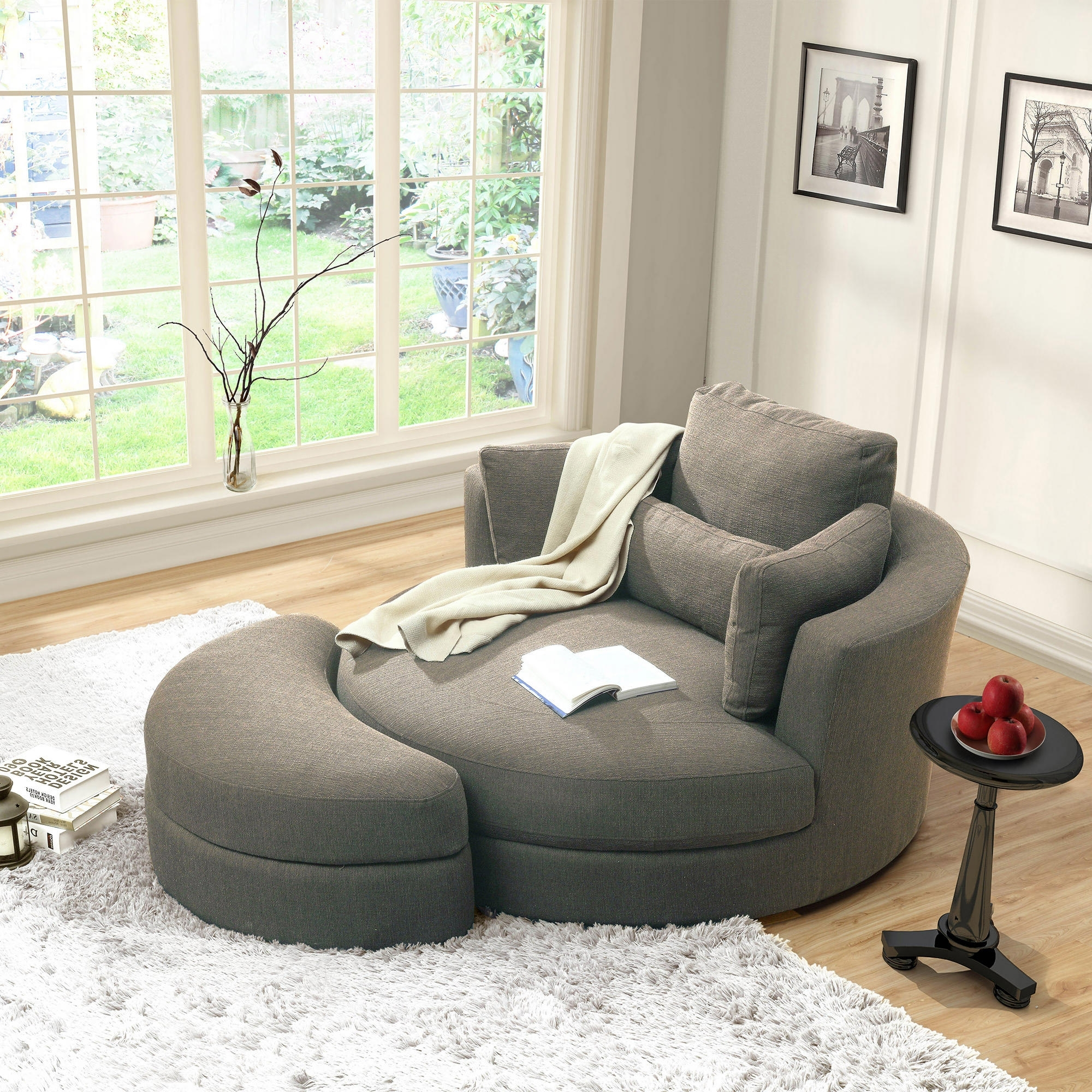 Latest Turner Grey Cuddler Swivel Chair With Storage Ottoman (View 8 of 15)