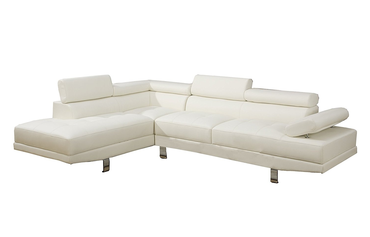 Latest White Leather Sectionals With Chaise For Amazon: Poundex 2 Pieces Faux Leather Sectional Right Chaise (View 6 of 15)
