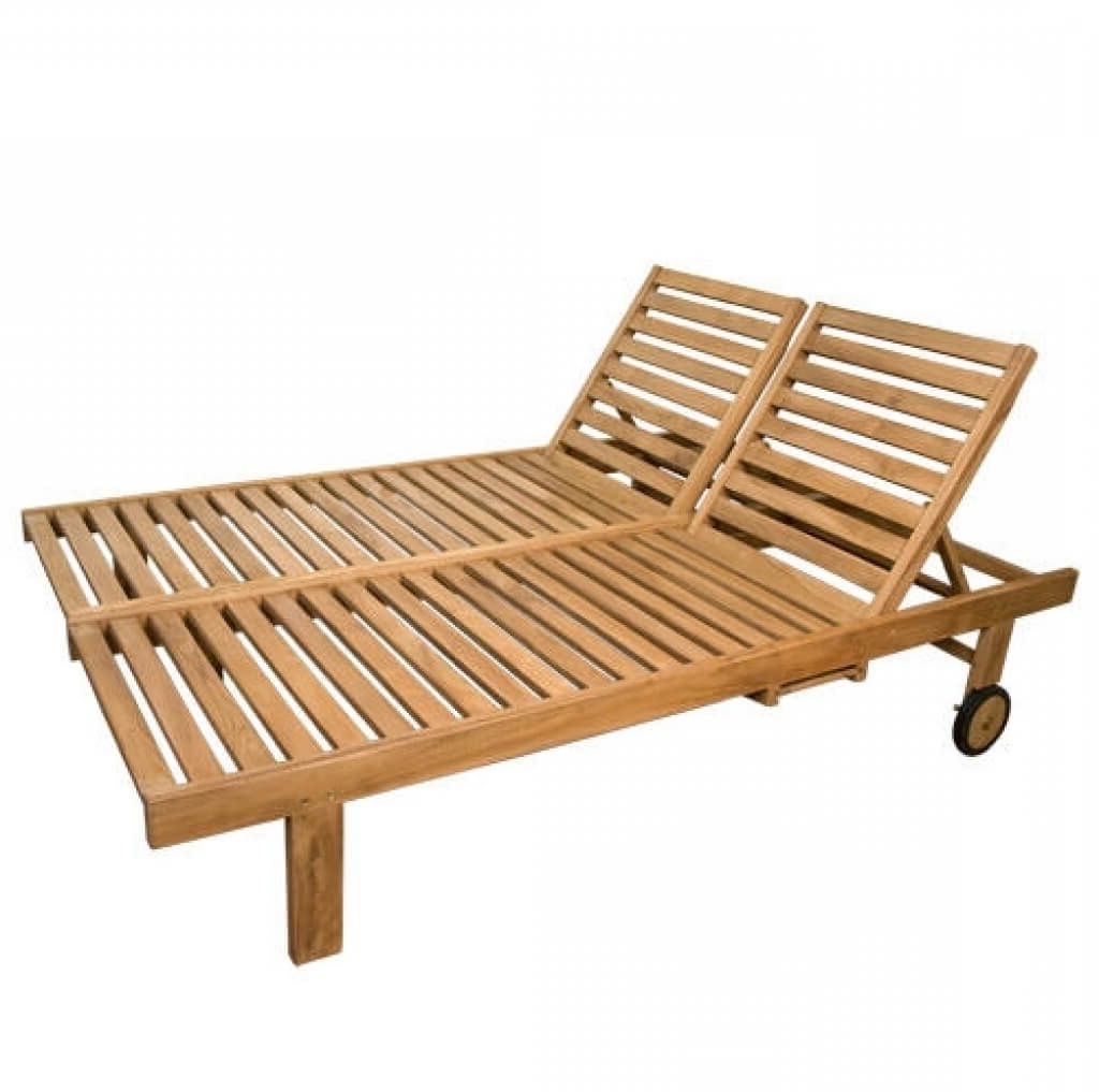 Latest Wooden Outdoor Chaise Lounge Chairs In Furniture: Solid Wood Double Outdoor Chaise Lounge Design With One (View 5 of 15)