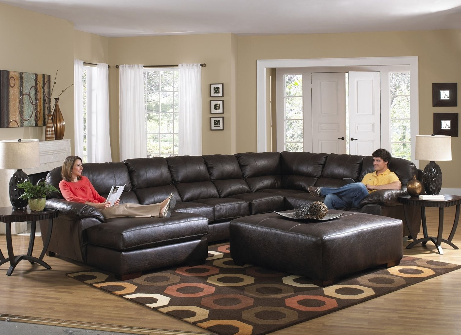 Lawson Godiva U Shape Sectional Sofa W/ Chaise In Chocolate Bonded With Regard To Famous Sectionals With Oversized Ottoman (View 6 of 15)
