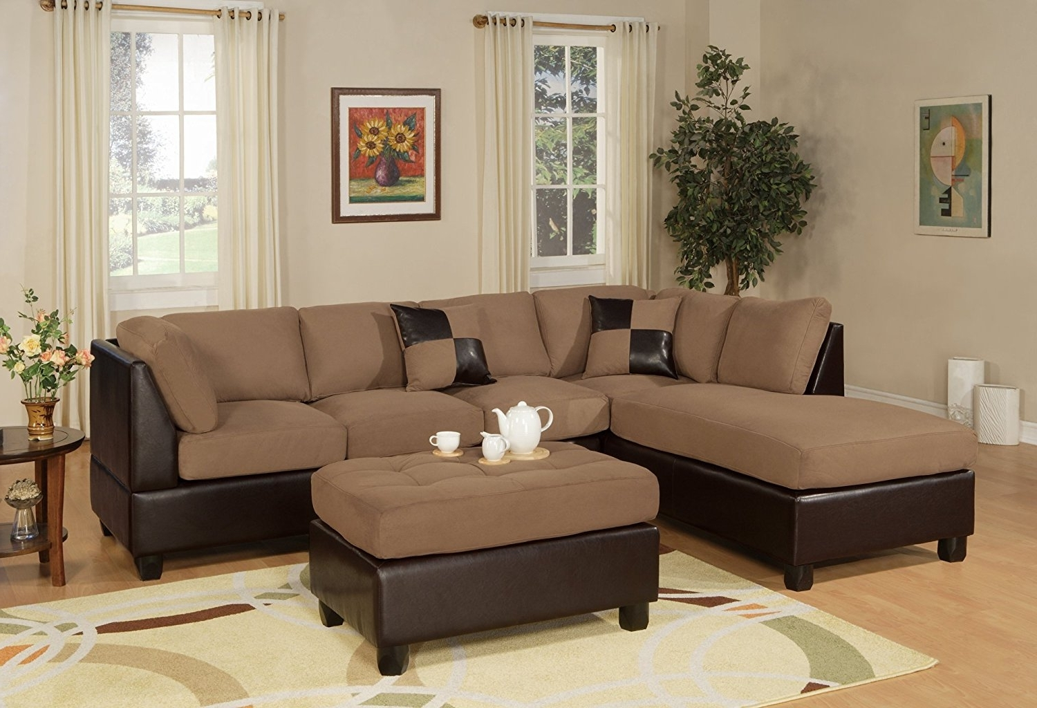 Leather And Suede Sectional Sofas For Current Amazon: Bobkona Hungtinton Microfiber/faux Leather 3 Piece (View 13 of 15)