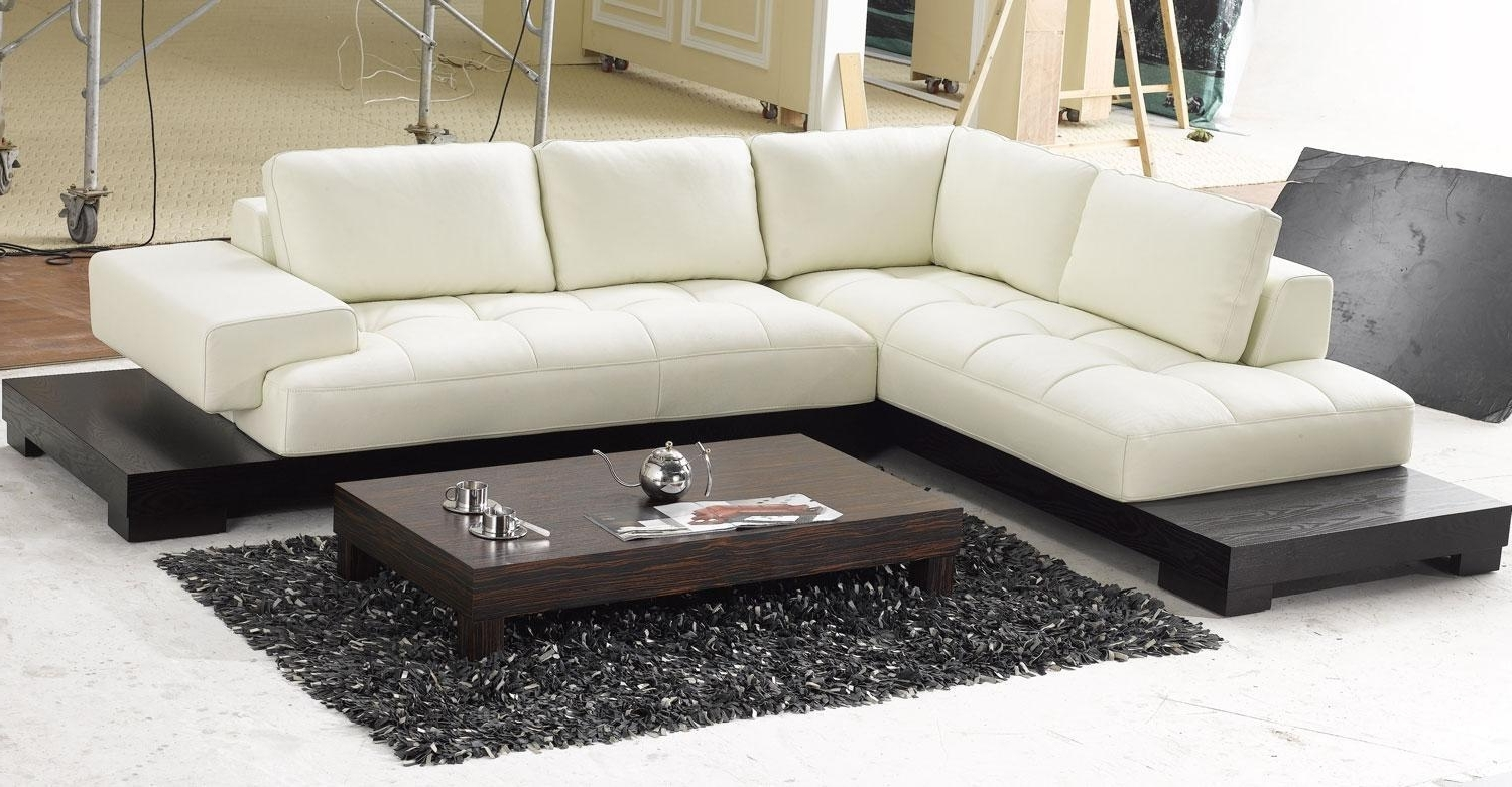 Leather Chaise Lounge Sofa Beds For Preferred White Leather Low Profile Sectional Chaise Lounge Sofa Bed With (View 4 of 15)