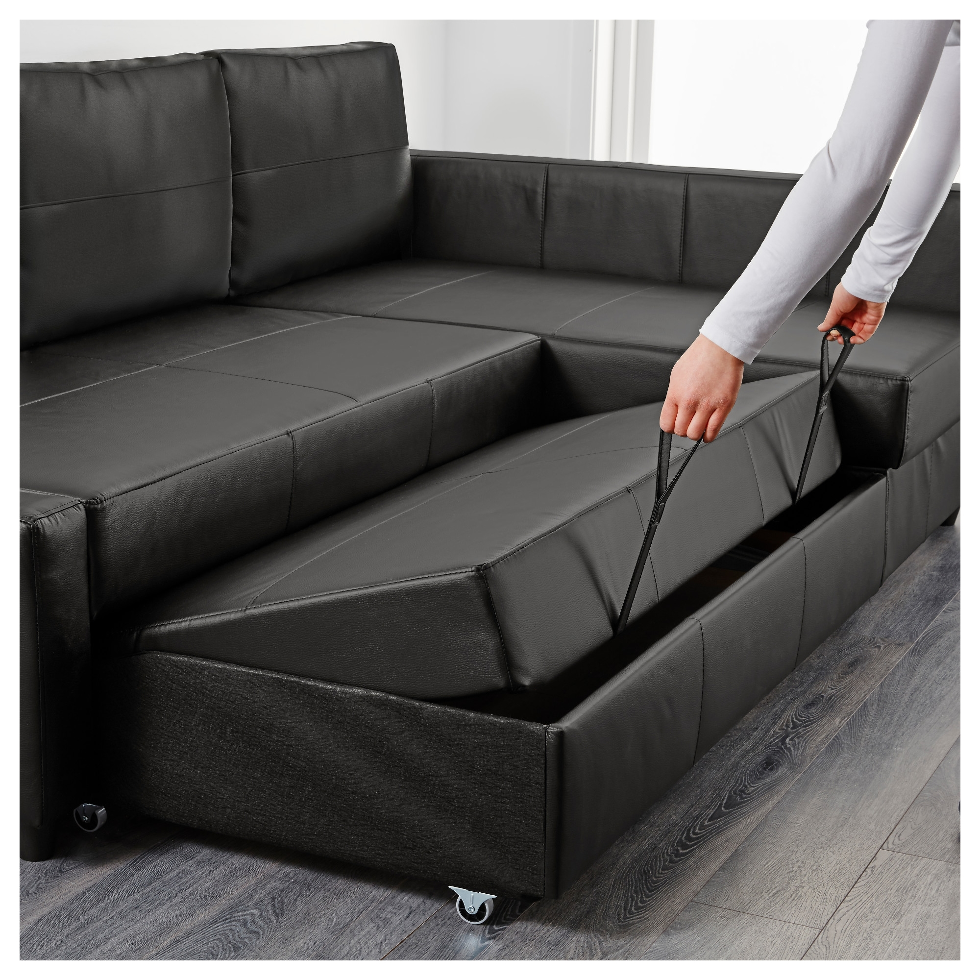 Leather Chaise Lounge Sofa Beds Regarding Fashionable Friheten Sleeper Sectional,3 Seat W/storage – Skiftebo Dark Gray (View 8 of 15)