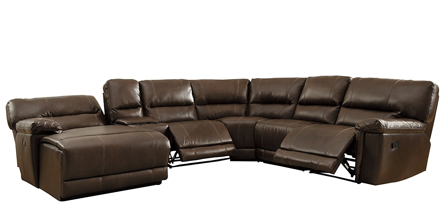 Leather Chaise Sectionals For Well Liked Amazon: Homelegance 6 Piece Bonded Leather Sectional Reclining (Gallery 14 of 15)