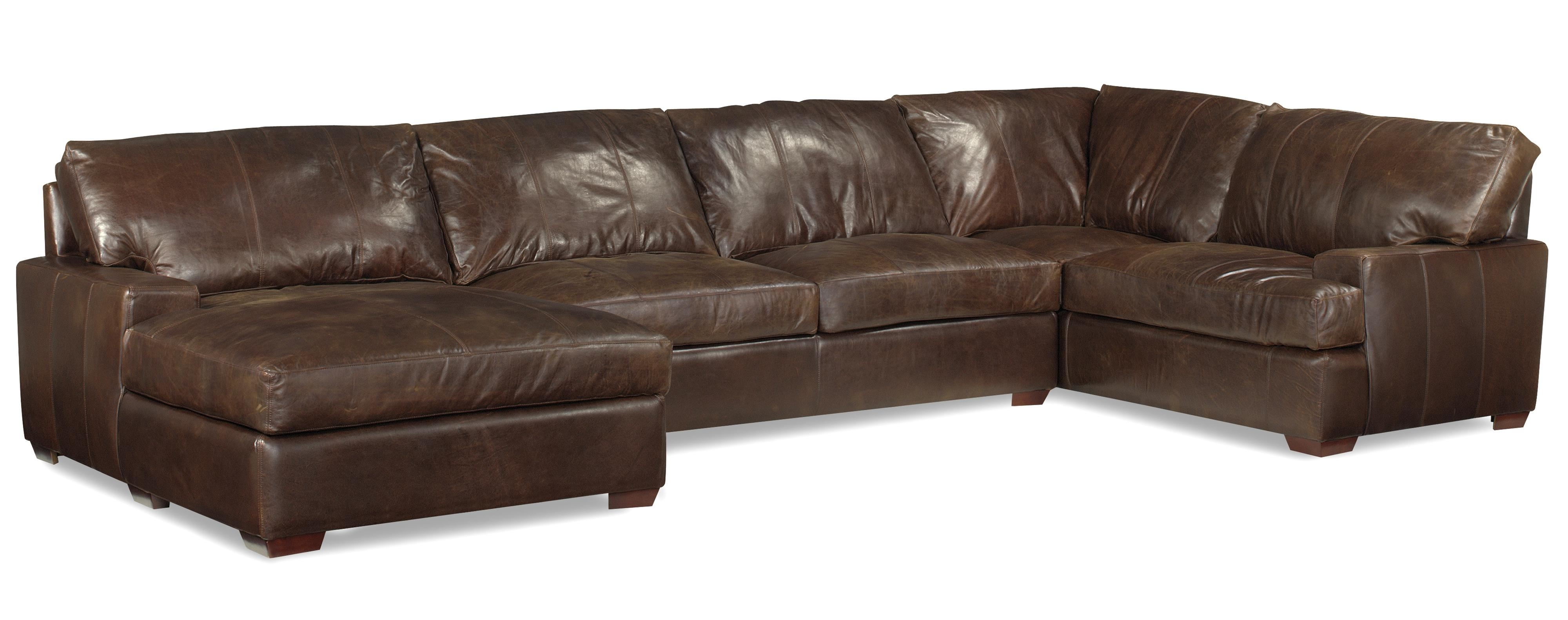 Leather Chaise Sofas With Trendy Usa Premium Leather 3635 Track Arm Sofa Chaise Sectional W/ Block (View 10 of 15)