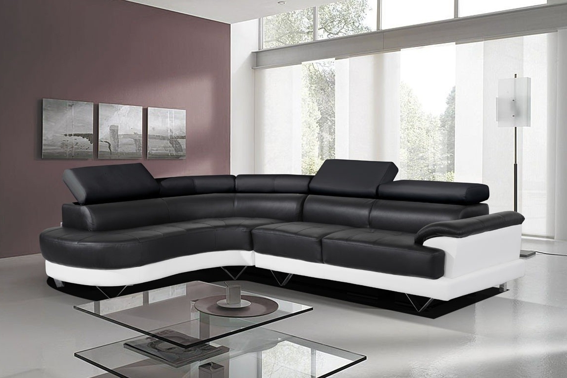 Leather Corner Sofas For Most Recent Cosmo Black And White Leather Corner Sofa Right/hand Best – S3Net (View 4 of 15)