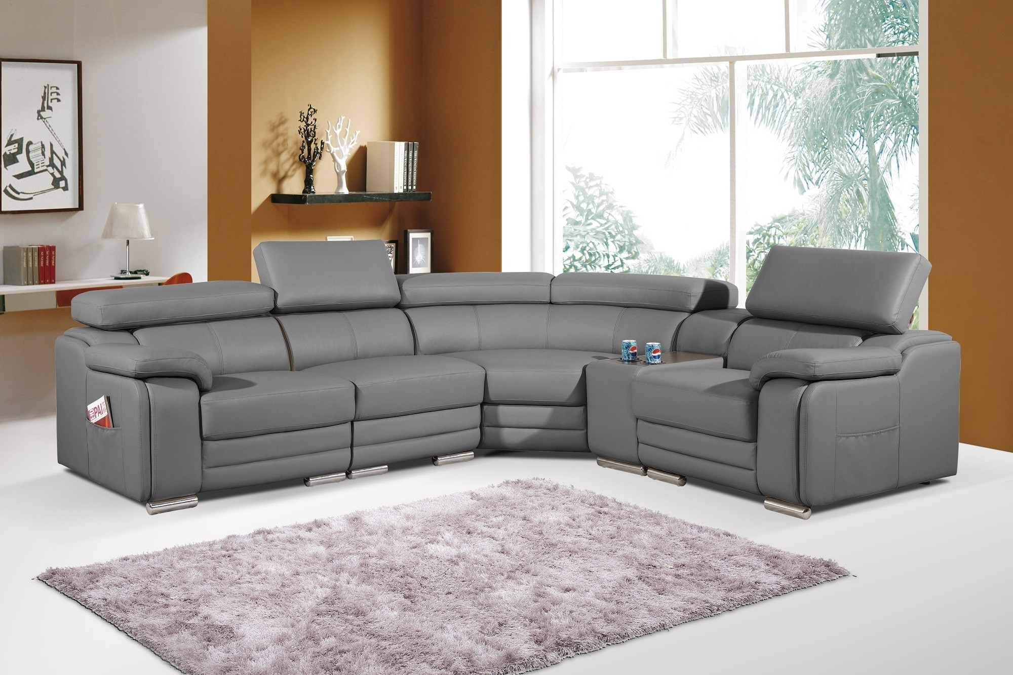 Leather Corner Sofas Intended For Most Recent Dakota Grey Bonded Leather Corner Sofa Left/hand (View 2 of 15)