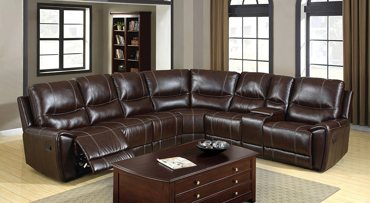 Leather Recliner Sectional Sofas Intended For Well Known Amazon: Furniture Of America Reeden Bonded Leather Match (View 13 of 15)