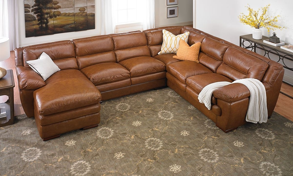 Leather Sectional Chaises Inside Famous Odyssey Leather Pillowtop Sectional With Chaise (View 7 of 15)