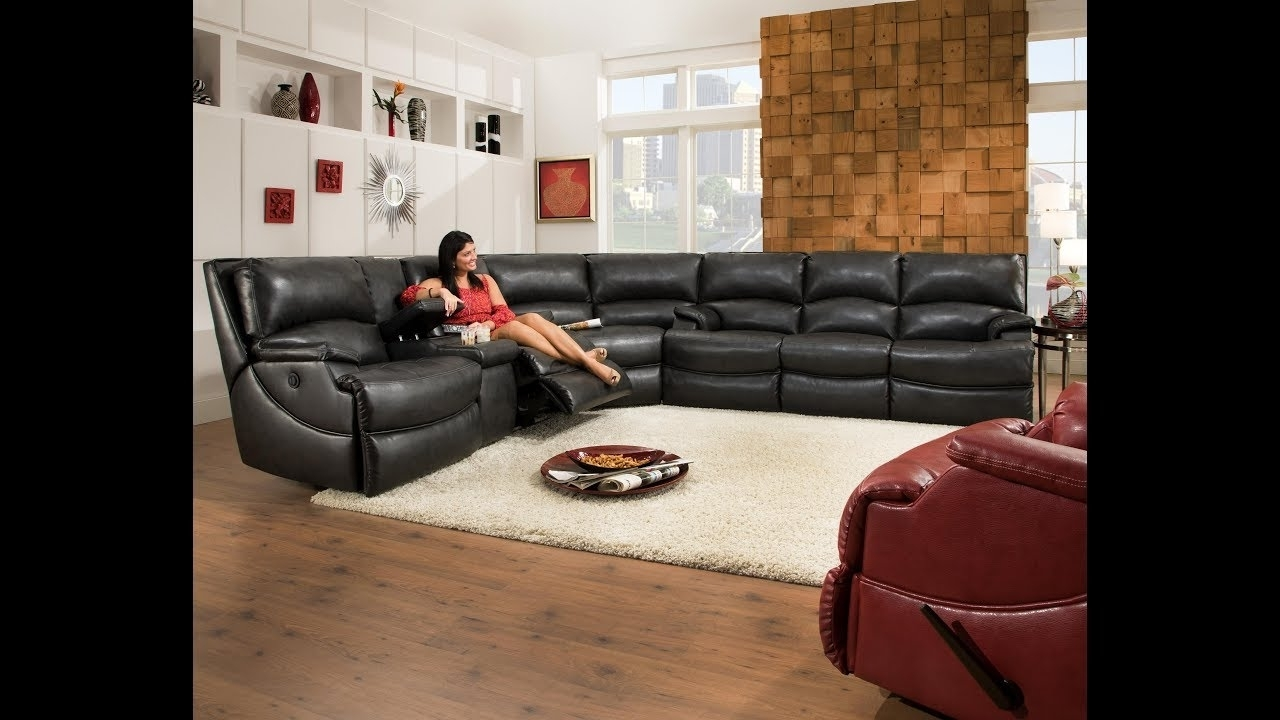 Leather Sectional Recliner Sofa With Cup Holders – Youtube Regarding Trendy Sectional Sofas With Cup Holders (View 2 of 15)