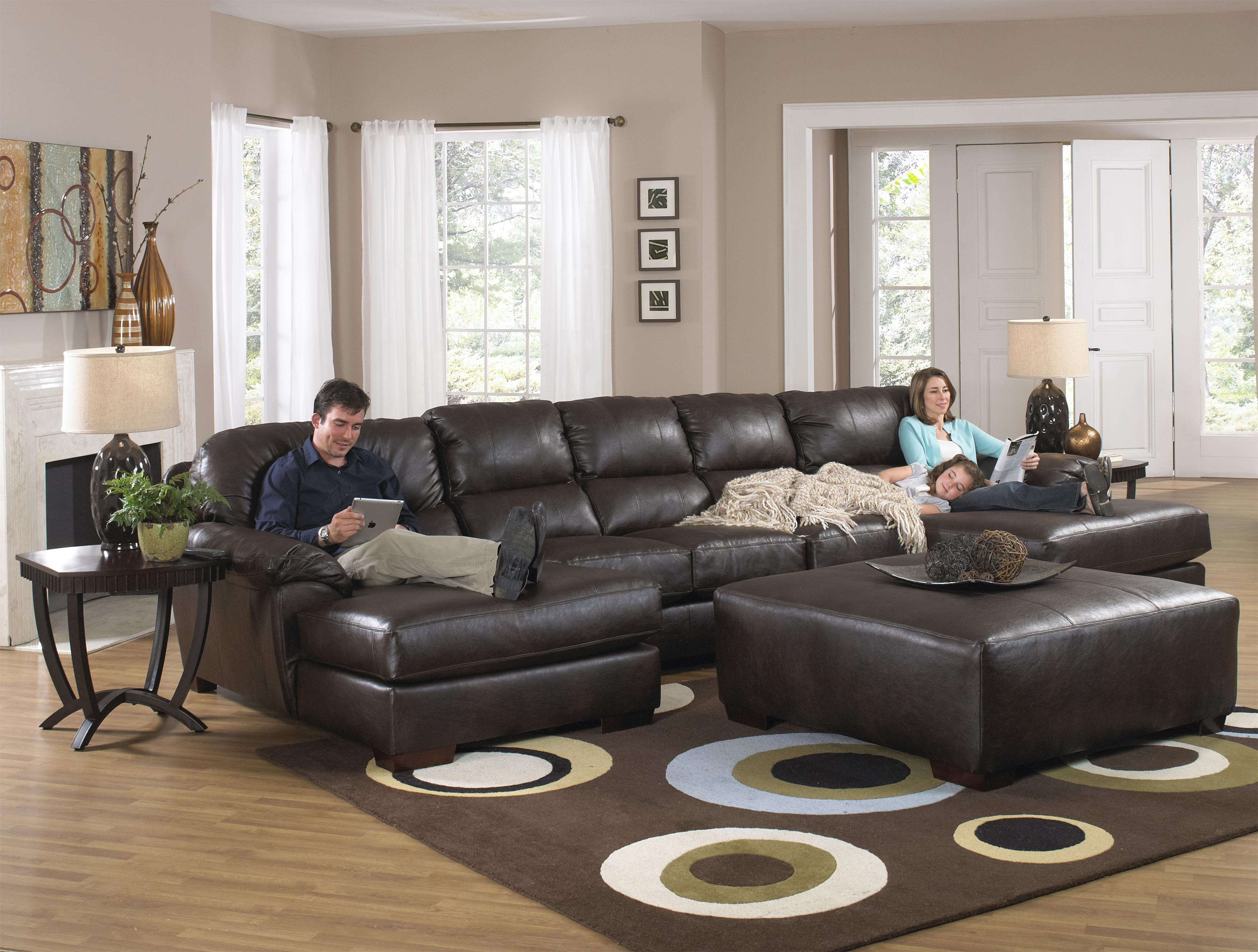 Leather Sectional Sofas With Ottoman Pertaining To Current Furniture : Two Chaise Sectional Sofa With Five Total Seats (View 12 of 15)