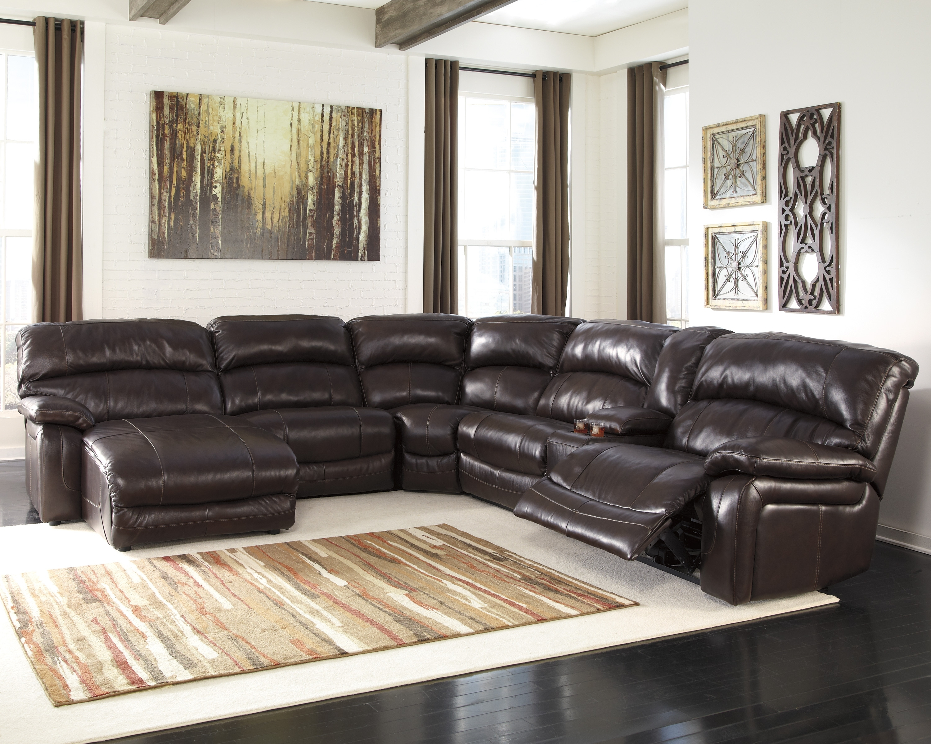 Leather Sectionals With Chaise And Recliner Throughout Newest Leather Sectional Sofas With Recliners And Cup Holders Sectional (View 9 of 15)