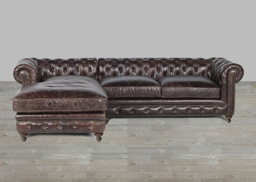 Leather Sofa With Chaise Rolled Arm Inside Most Up To Date Leather Sofa Chaises (View 8 of 15)