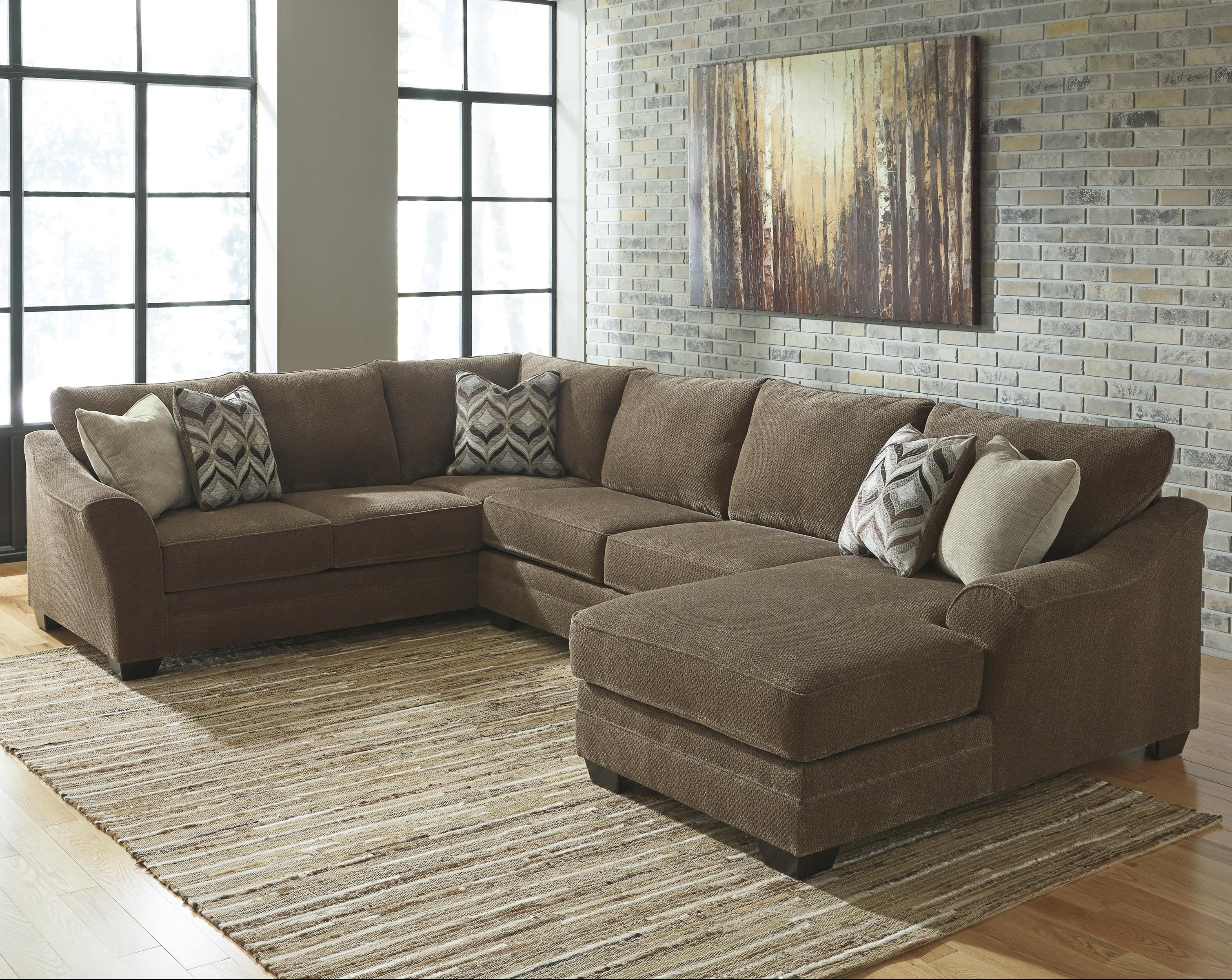 Left Chaise Sectionals With Regard To Newest Benchcraft Justyna Contemporary 3 Piece Sectional With Left Chaise (View 9 of 15)