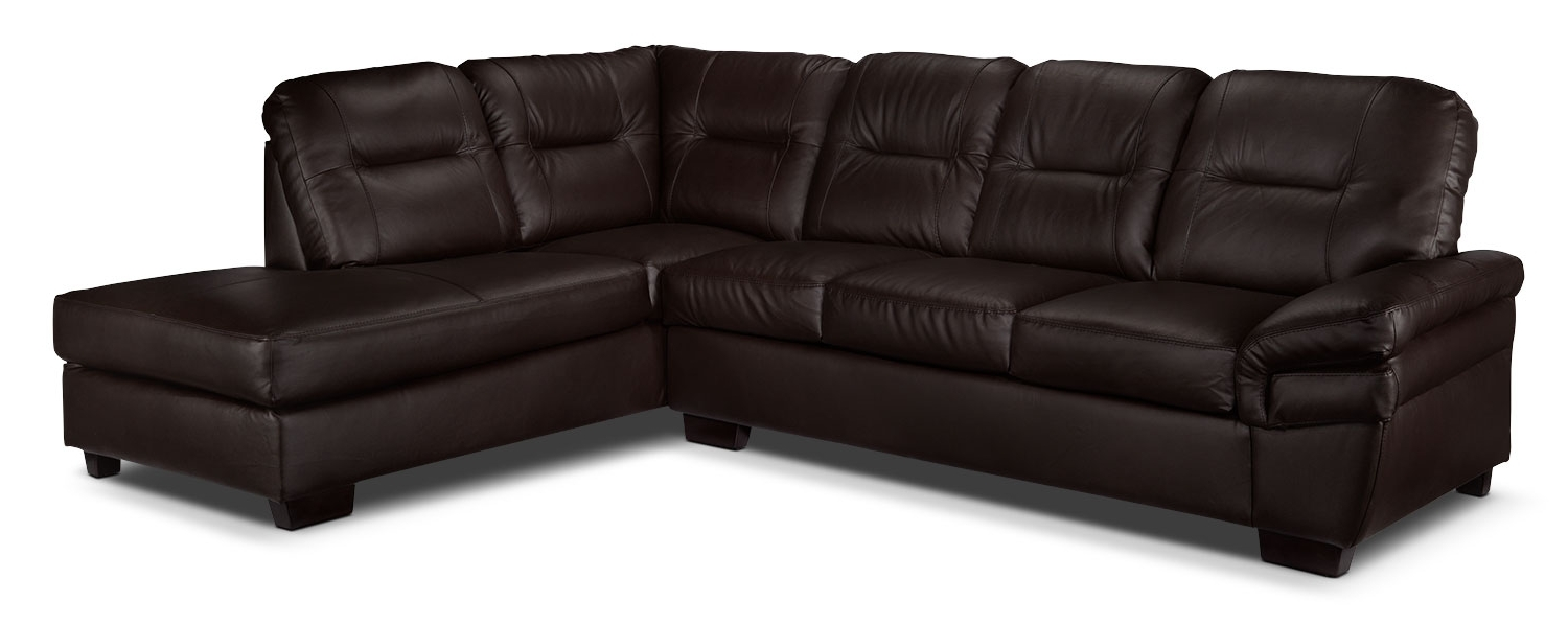 Leons Sectional Sofas In Well Known Harper 2 Piece Sectional With Right Facing Chaise – Dark Chocolate (View 3 of 15)